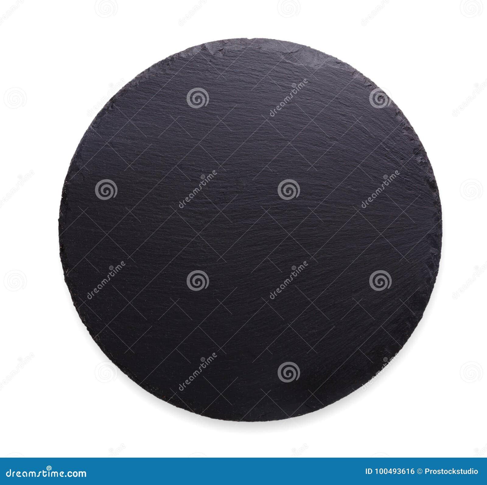 Κενό αγροτικό μαύρο πιάτο πετρών πλακών που απομονώνεται στο άσπρο υπόβαθρο