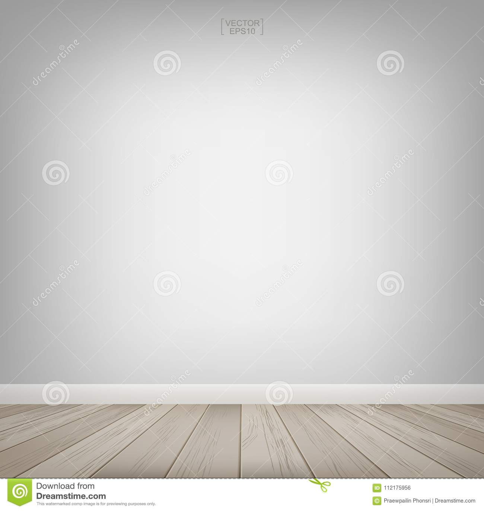 Κενό ξύλινο διάστημα δωματίων με το άσπρο υπόβαθρο τοίχων επίσης corel σύρετε το διάνυσμα απεικόνισης