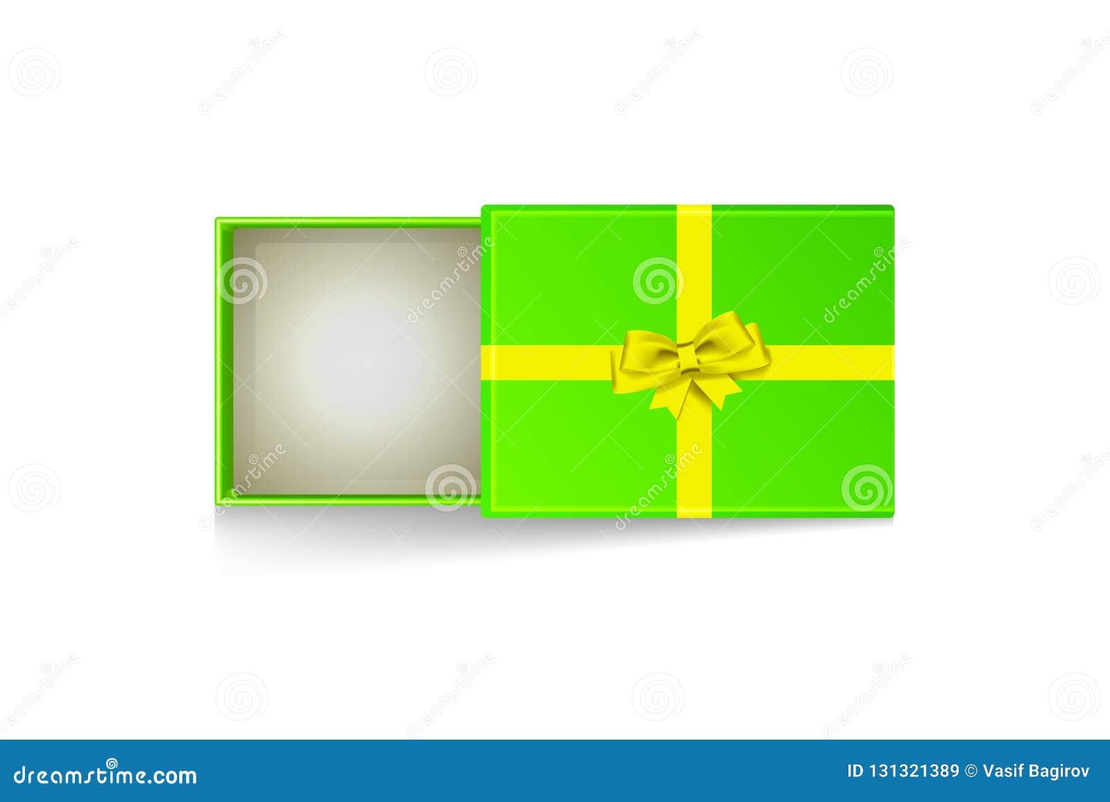 Κενό πράσινο εικονίδιο κιβωτίων δώρων με τη χρυσή κορδέλλα συσκευασίας που απομονώνεται στο άσπρο υπόβαθρο - για την εποχή Χριστο