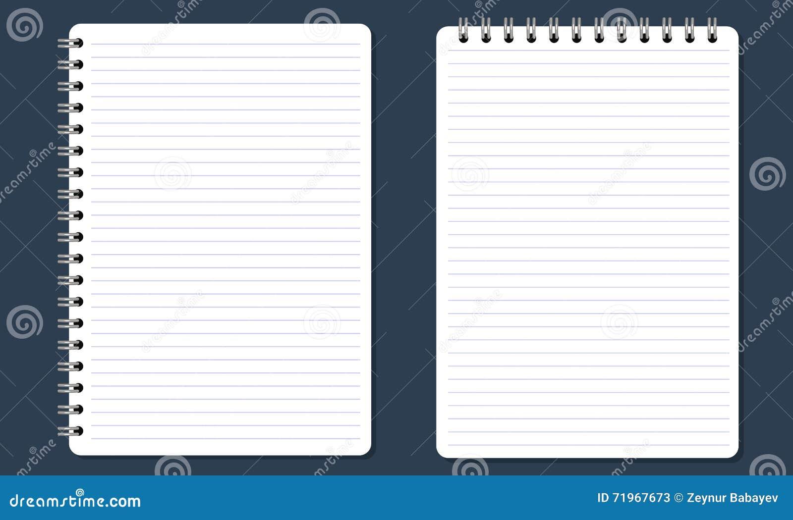 Κενό σπειροειδές σημειωματάριο σημειωματάριων με τις γραμμές Επίπεδο χρώμα και απομονωμένος