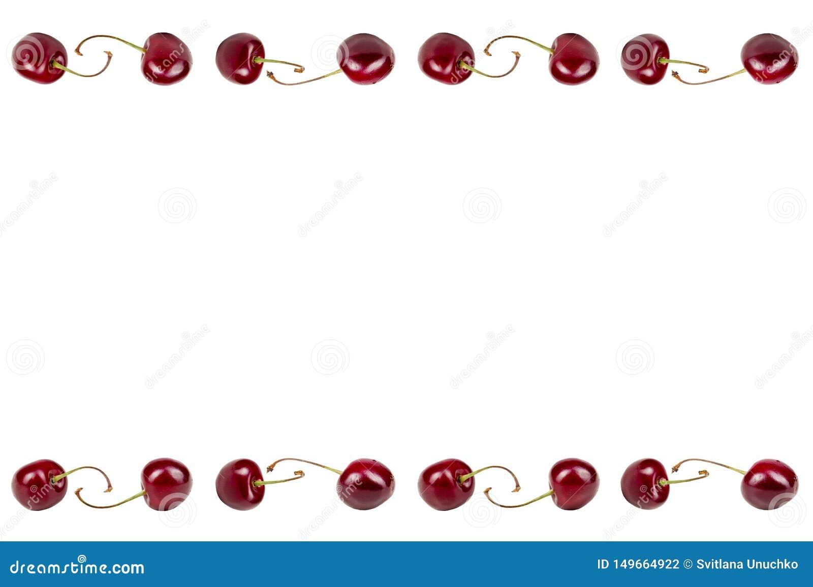 κεράσια Συλλογή των φρούτων γλυκών κερασιών στο άσπρο υπόβαθρο με το ψαλίδισμα της πορείας r r