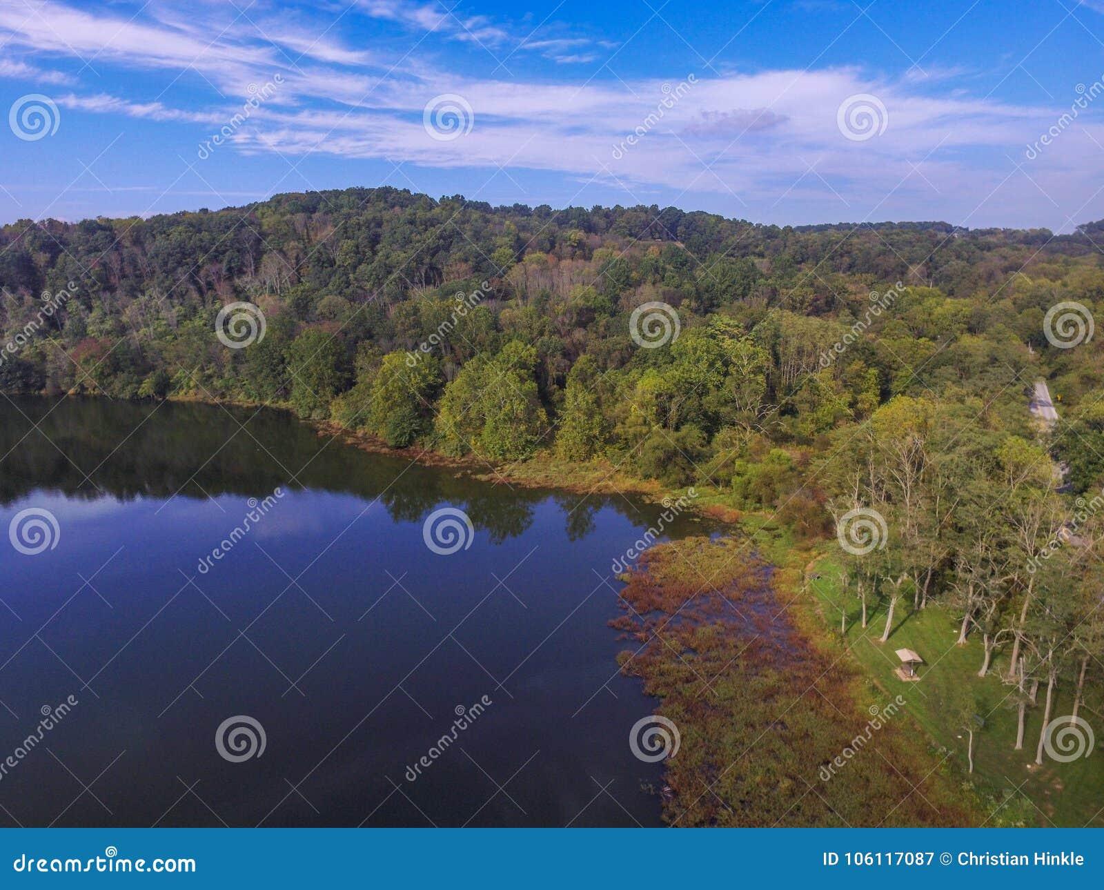 Κεραία της λίμνης Redman στο πάρκο του William Kain στο Jacobus, Pennsylva