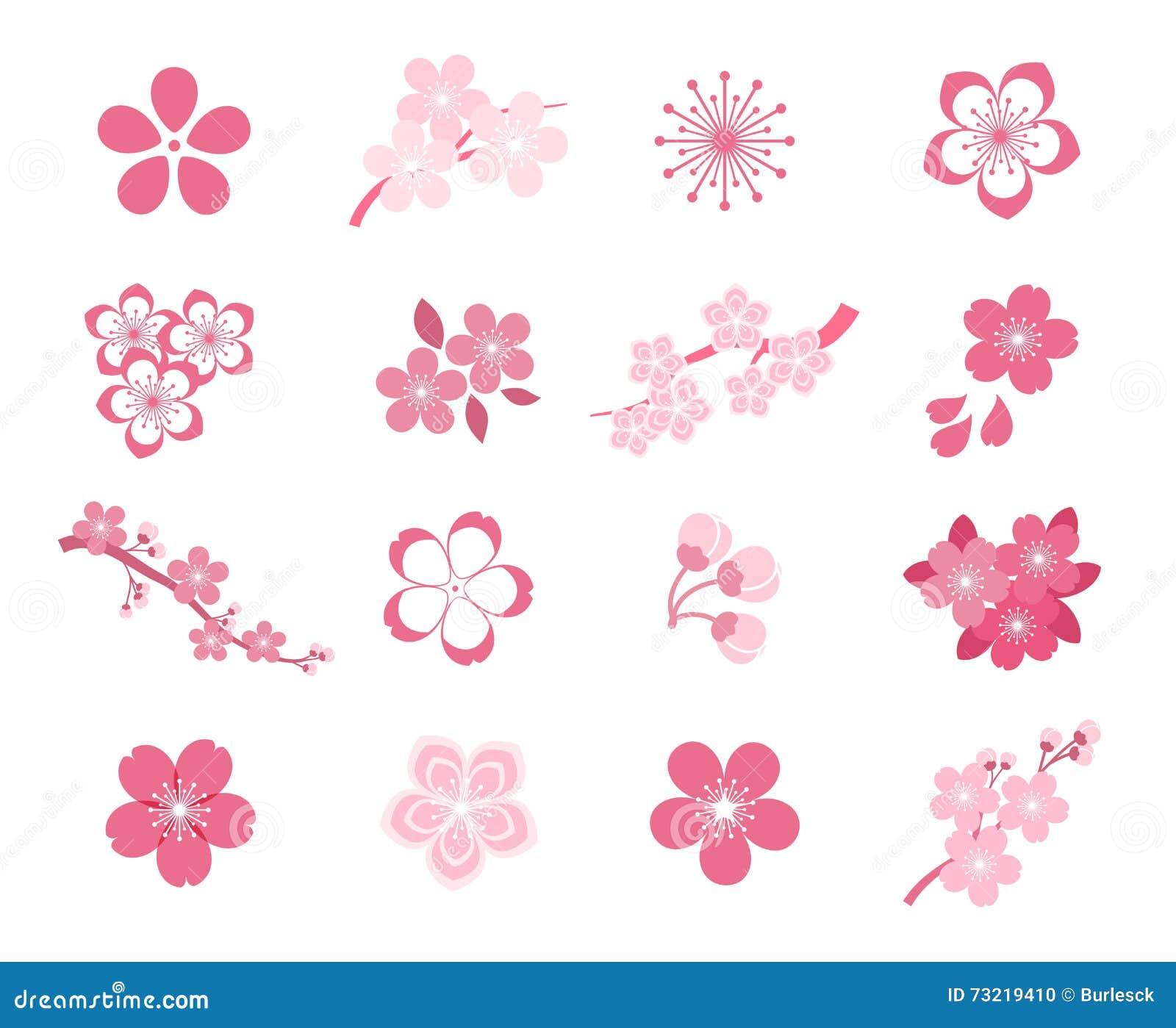 Κερασιών ανθών ιαπωνικό σύνολο εικονιδίων sakura διανυσματικό