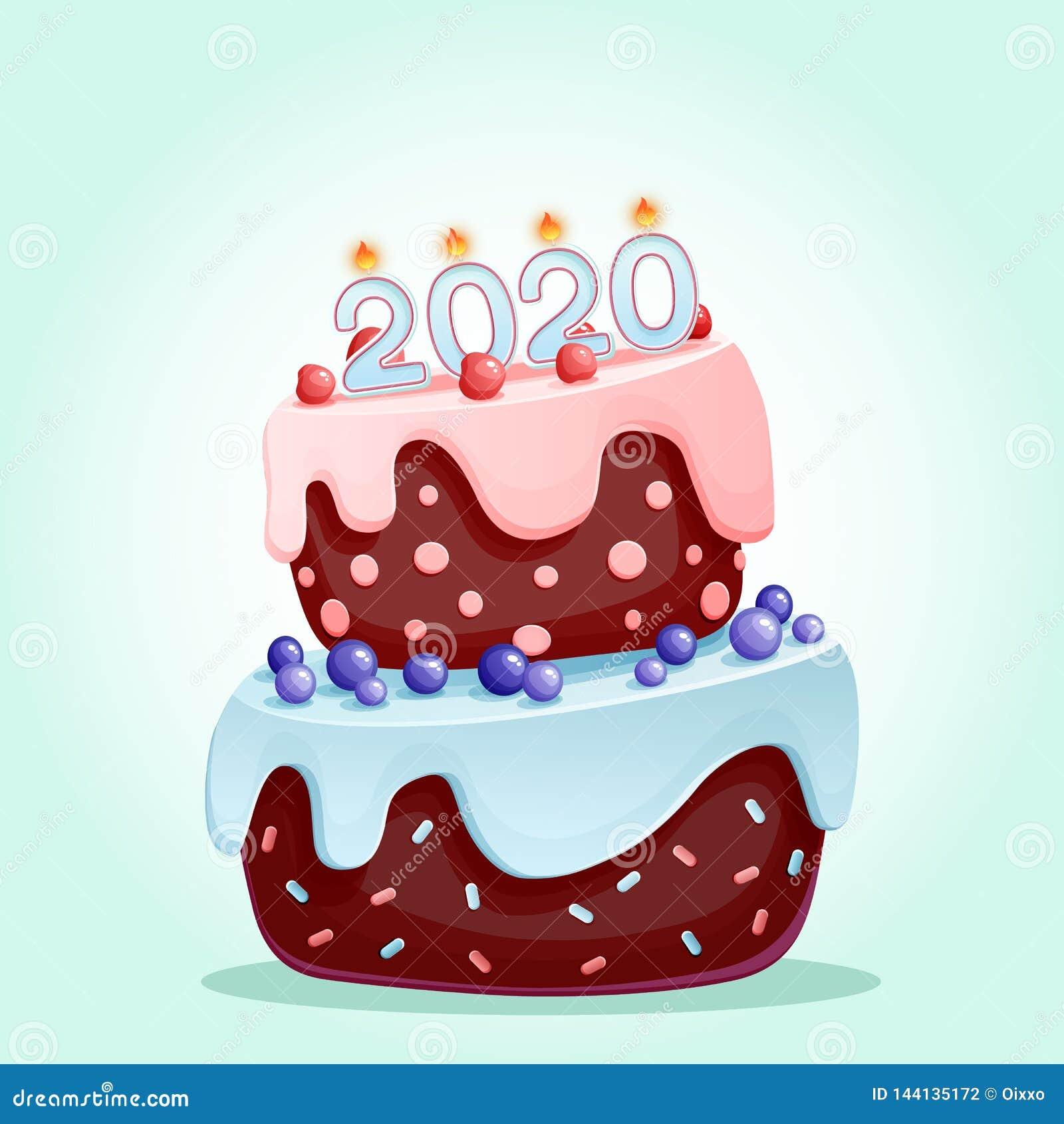 2020 κεριά σε ένα εορταστικό κέικ Καλής χρονιάς 2020 απεικόνιση που απομονώνεται διανυσματική Χαρούμενα Χριστούγεννα και διανυσμα