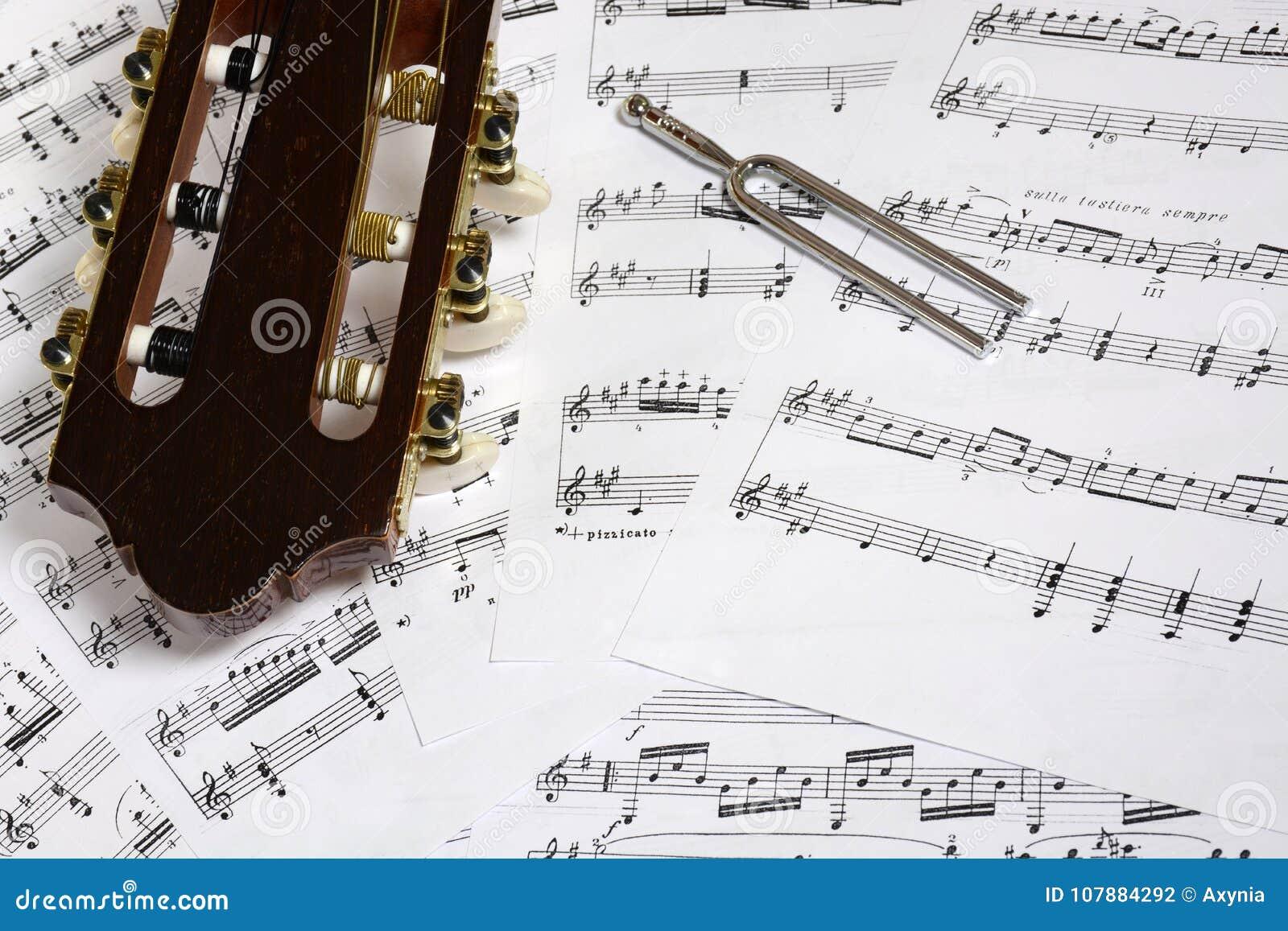 Κεφάλι και συντονισμός κιθάρων - κινηματογράφηση σε πρώτο πλάνο δικράνων στις σημειώσεις