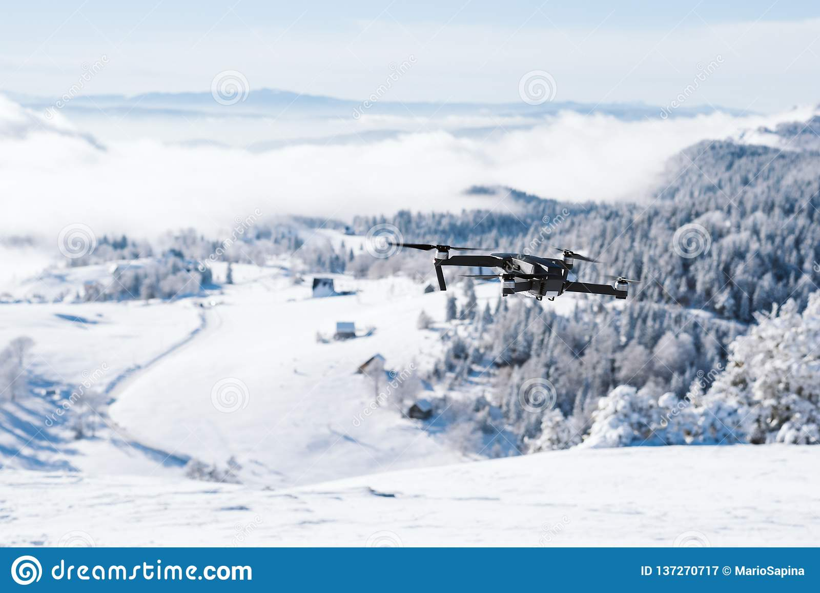 Κηφήνας που πετά πέρα από ένα βουνό που καλύπτεται με το χιόνι