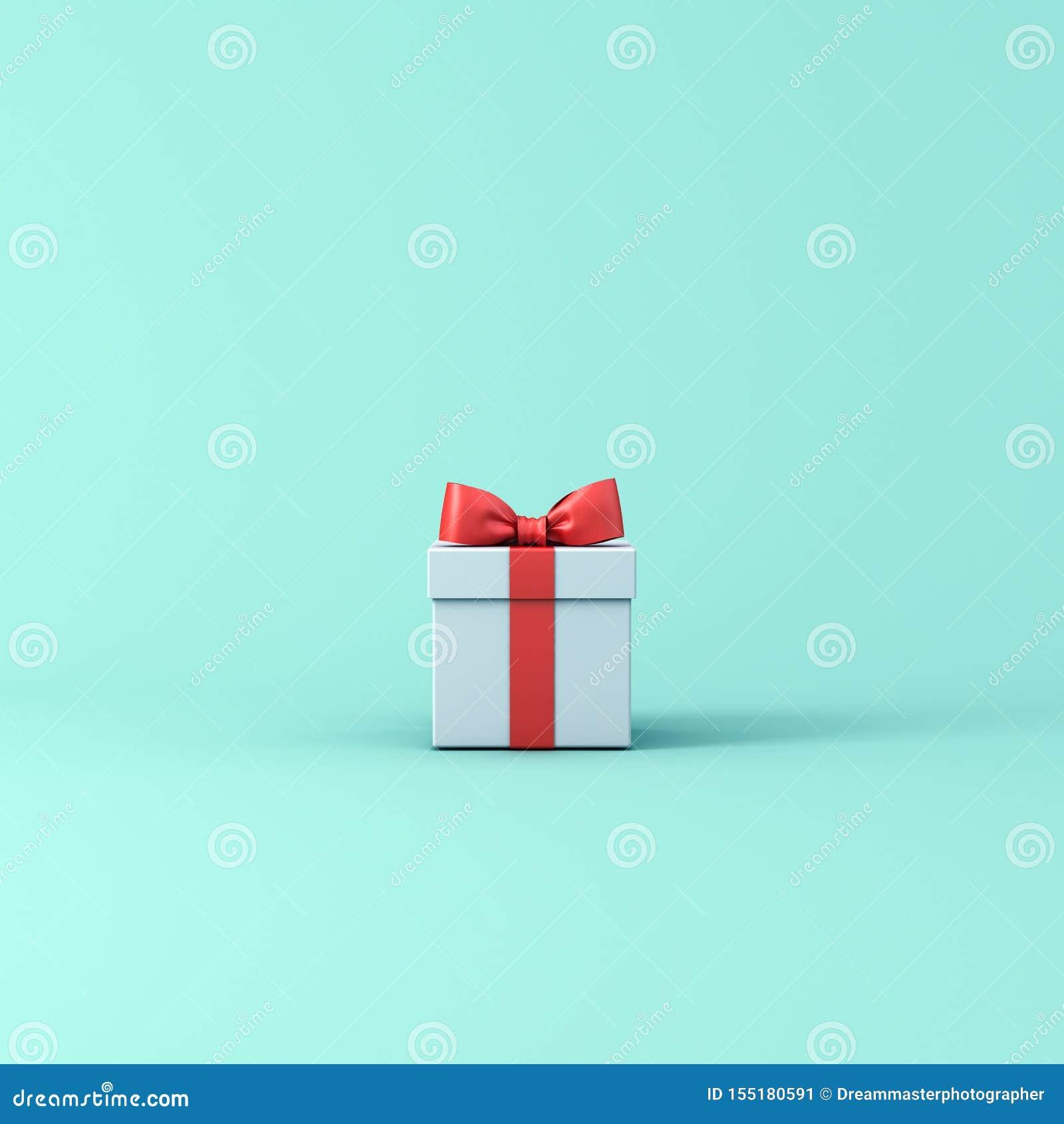 Κιβώτιο δώρων ή παρόν κιβώτιο με την κόκκινη κορδέλλα και τόξο που απομονώνεται στο ανοικτό μπλε πράσινο υπόβαθρο χρώματος κρητιδ