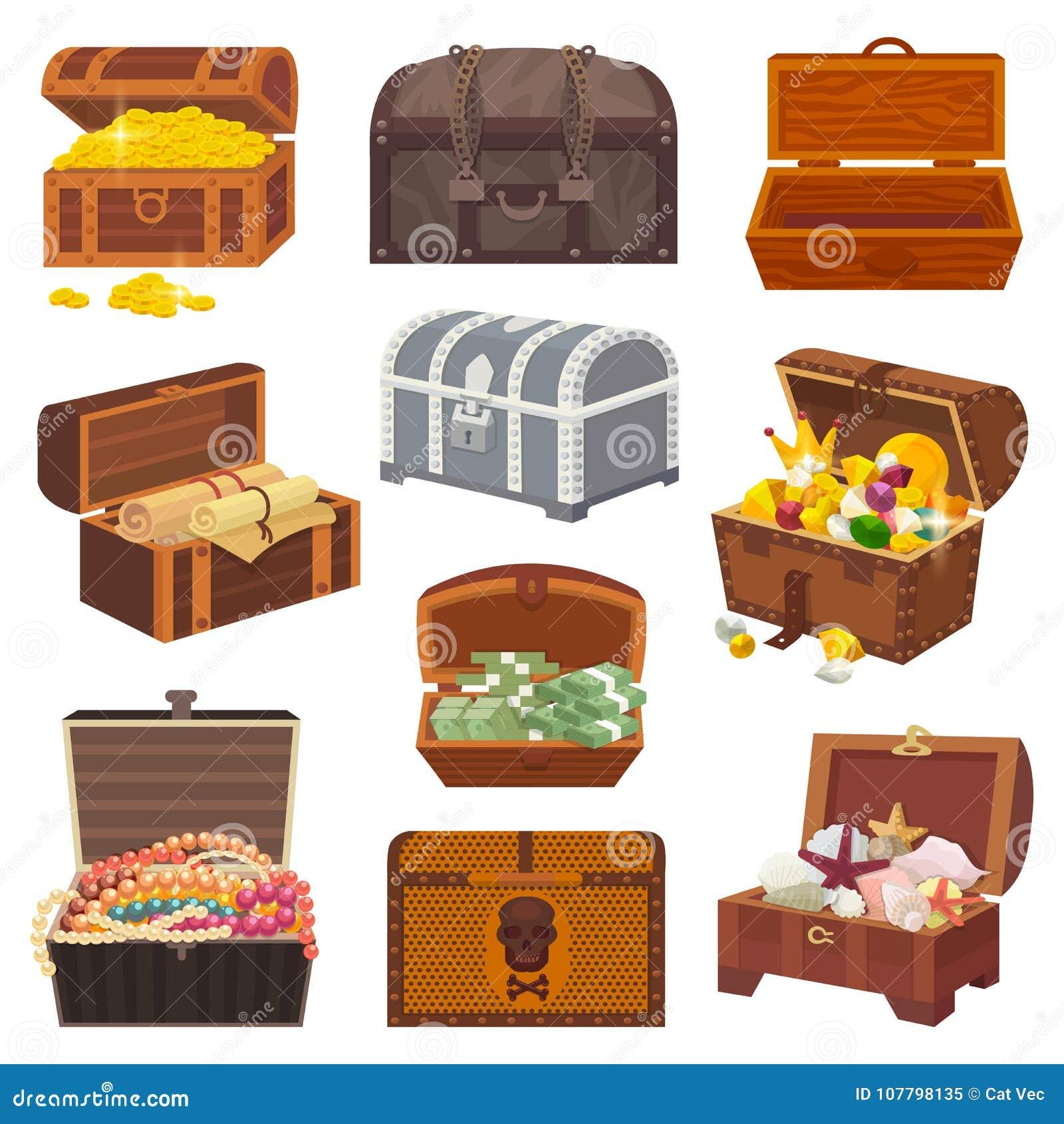 Κιβώτιο θωρακικών διανυσματικό θησαυρών με το χρυσό πλούτο χρημάτων ή ξύλινα στήθη πειρατών με τα χρυσά νομίσματα και τα αρχαία κ