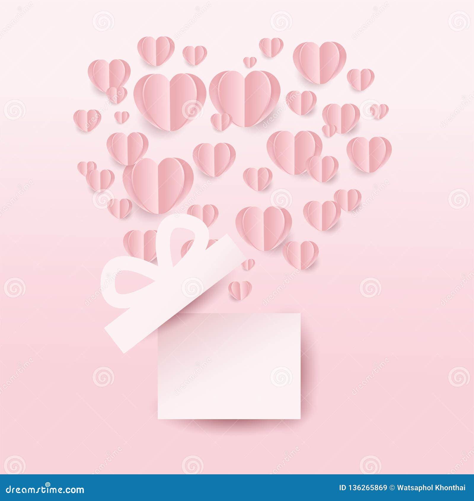 Κιβώτιο και καρδιές δώρων Valentine's που πετούν, μορφή καρδιών στο ρόδινο υπόβαθρο το έγγραφο έκοψε το ύφος επίσης corel σύρετ