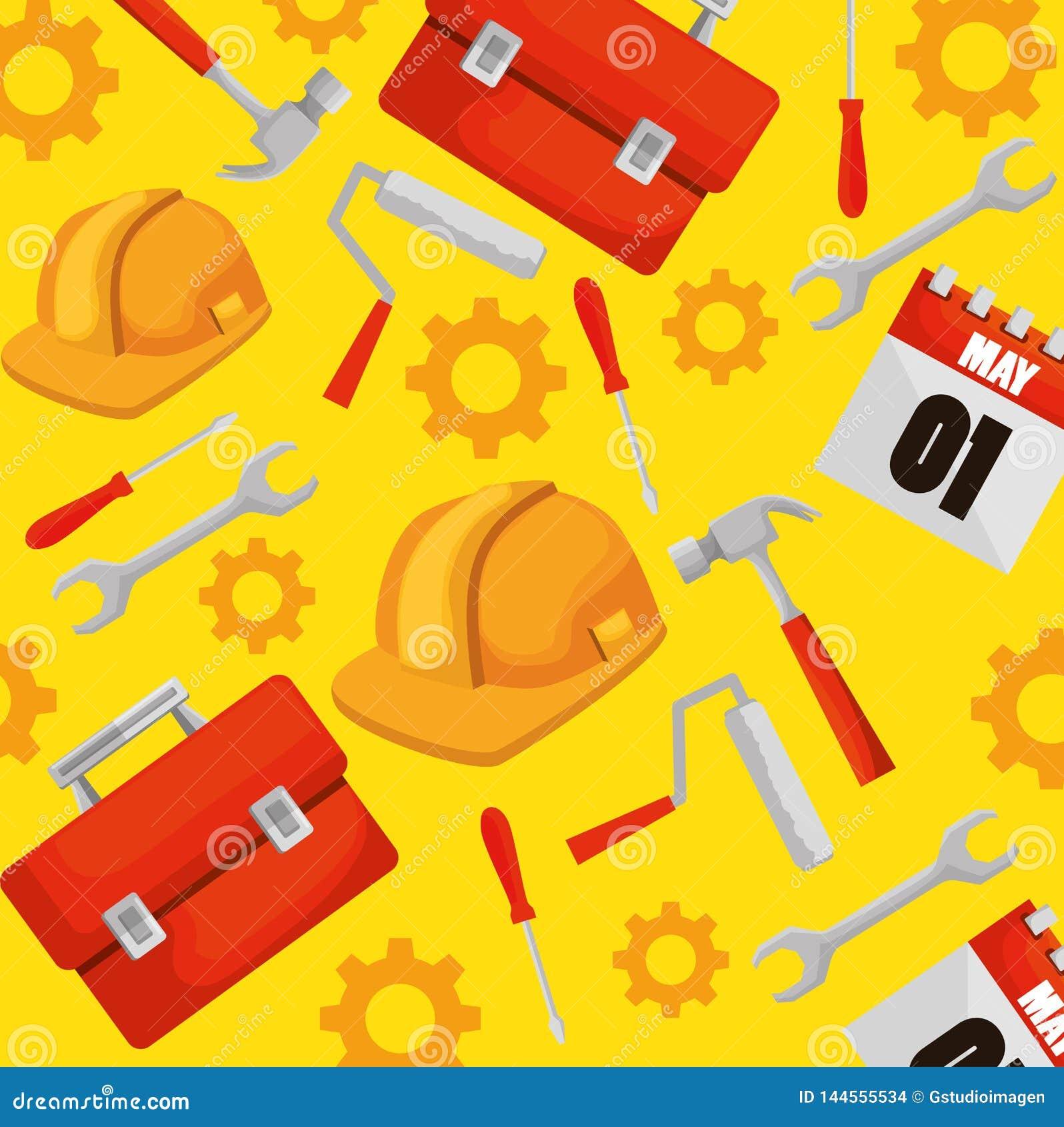 Κιβώτιο κατασκευής με το επαγγελματικό υπόβαθρο εργαλείων