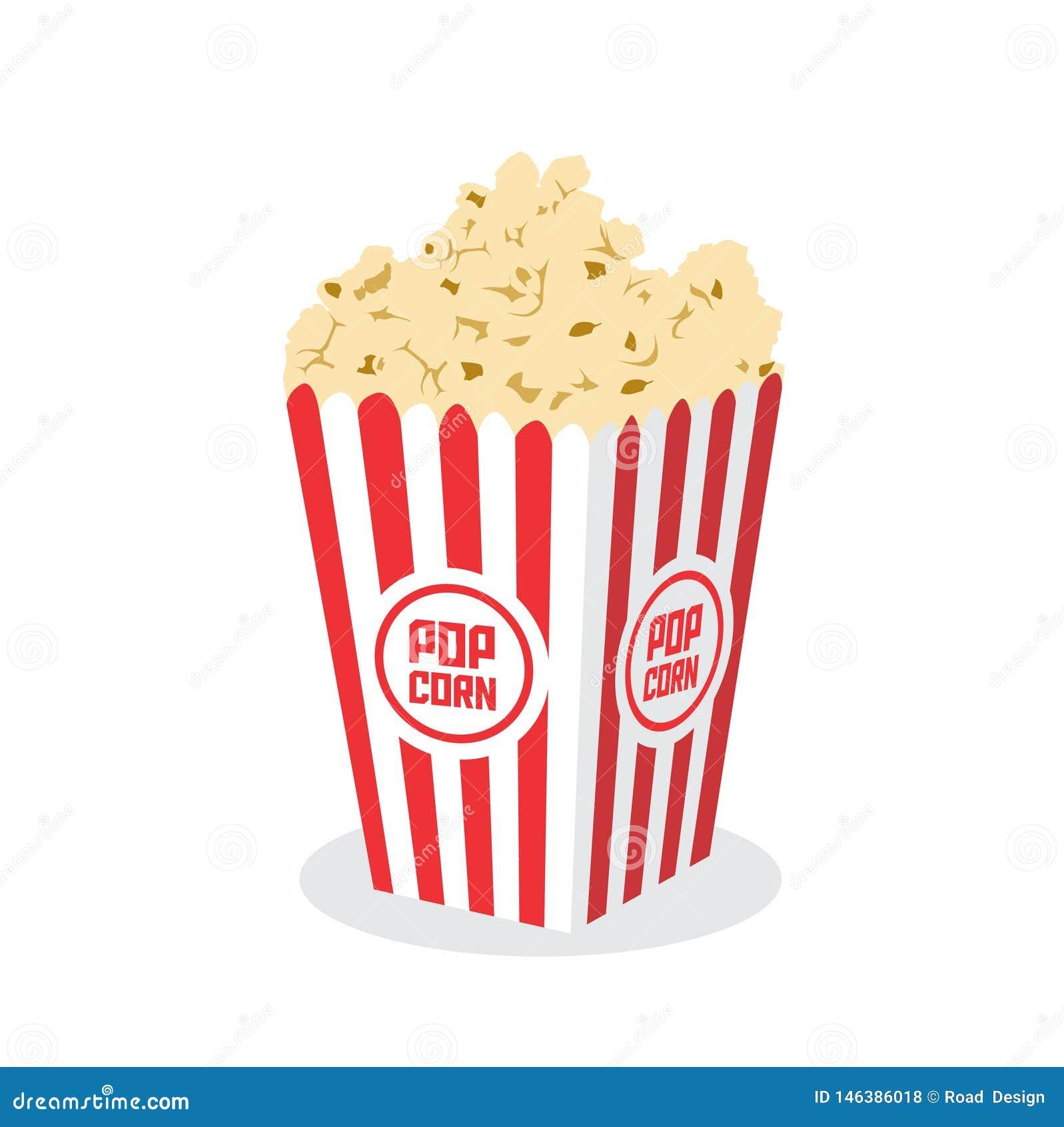 Κιβώτιο με Popcorn που απομονώνεται στην άσπρη διανυσματική απεικόνιση υποβάθρου