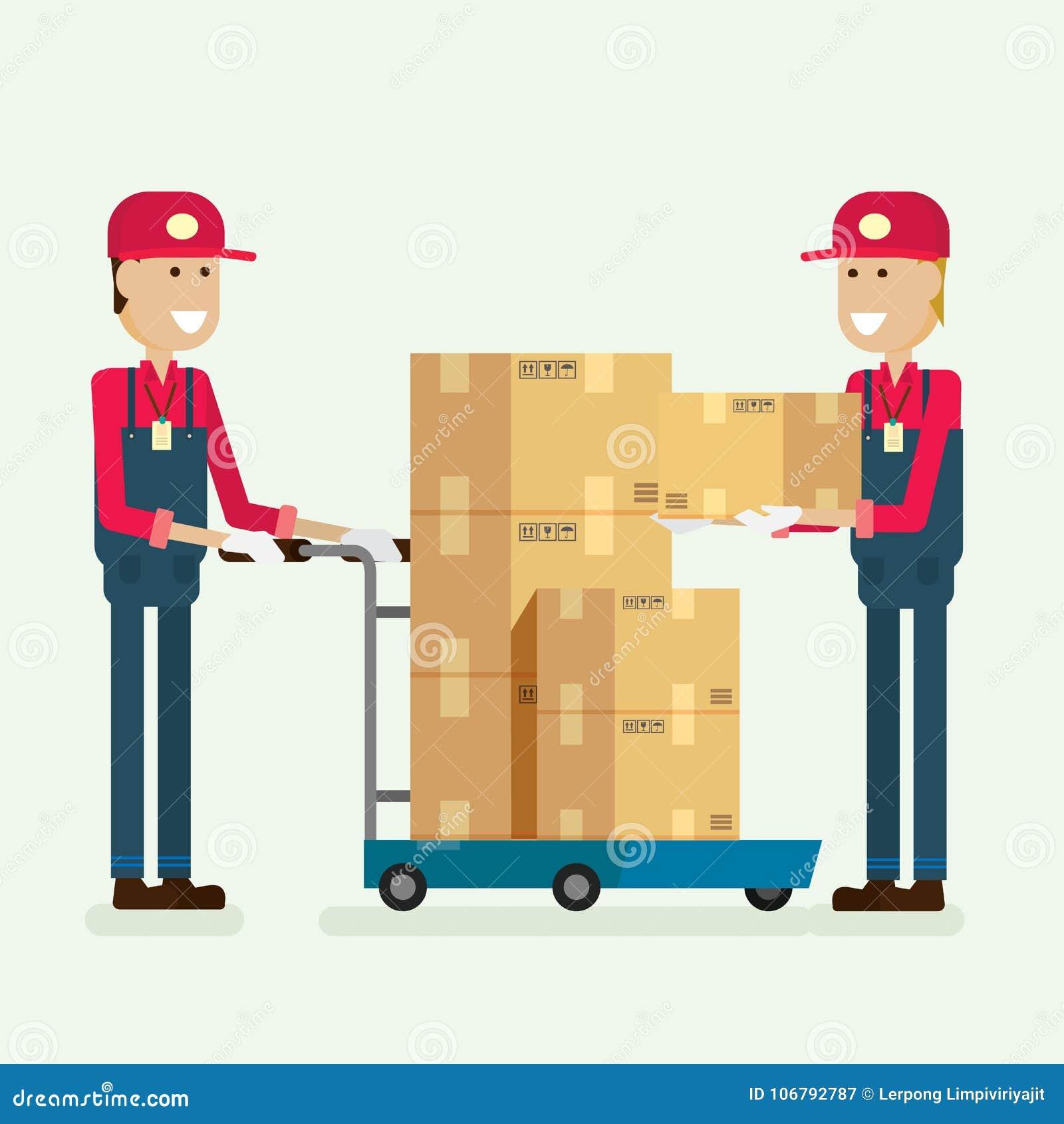 Κιβώτιο φορτίου εργαζομένων υπηρεσιών παράδοσης στην αποθήκη εμπορευμάτων απεικόνιση vec