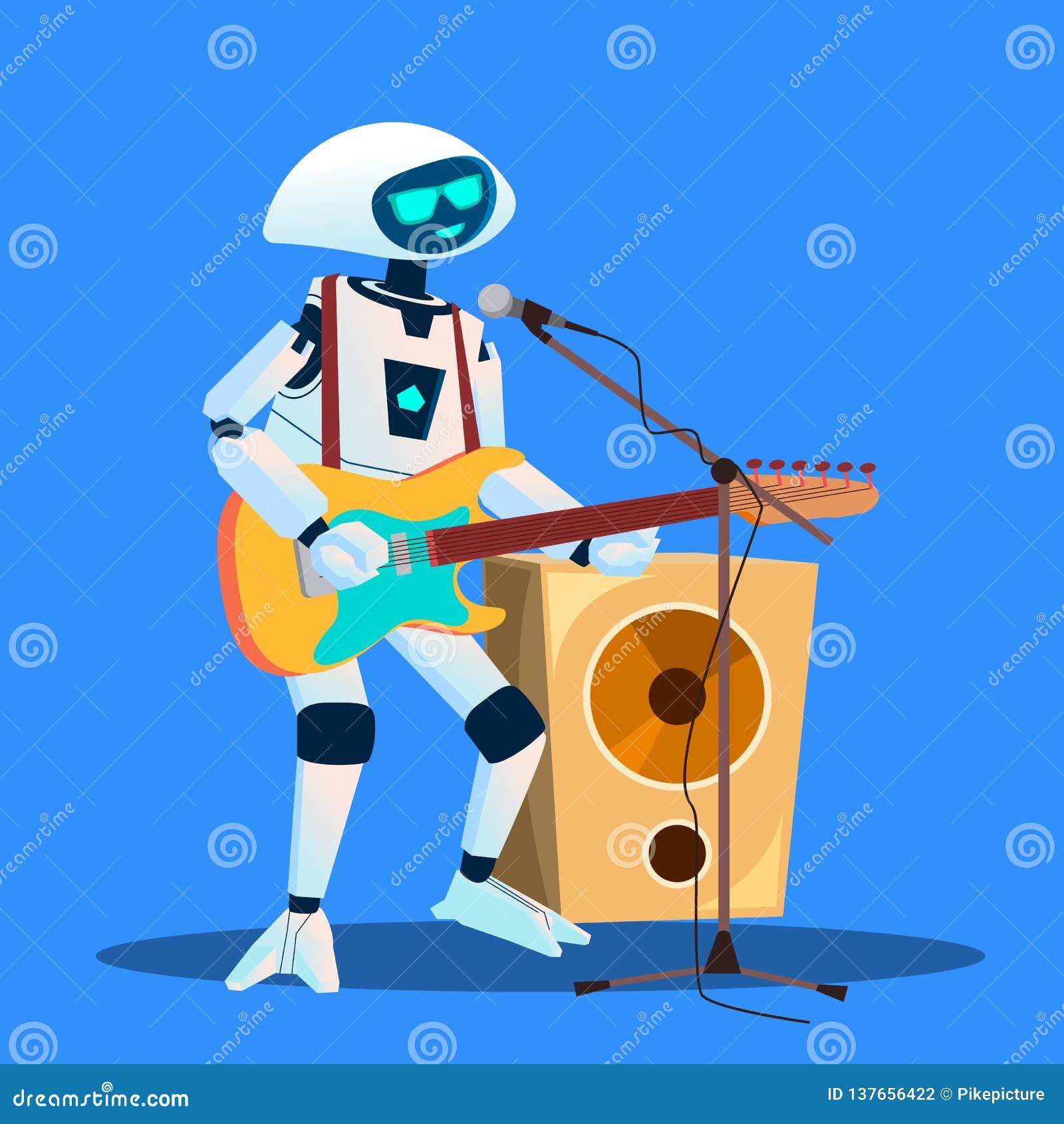 Κιθάρα παιχνιδιού ρομπότ και διάνυσμα τραγουδιού απομονωμένη ωθώντας s κουμπιών γυναίκα έναρξης χεριών απεικόνιση