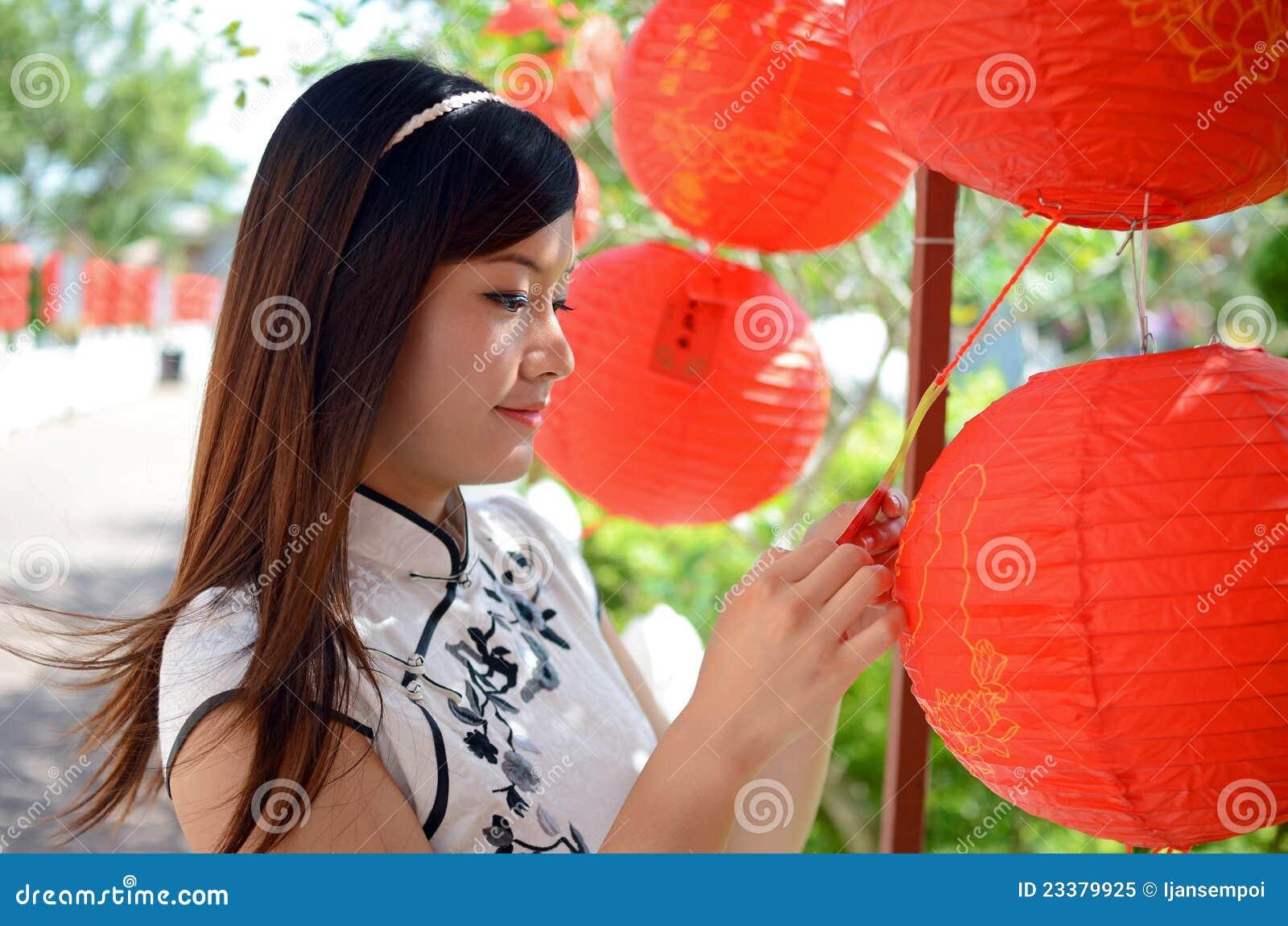 κινεζική κόκκινη γυναίκα εγγράφου φαναριών εκμετάλλευσης