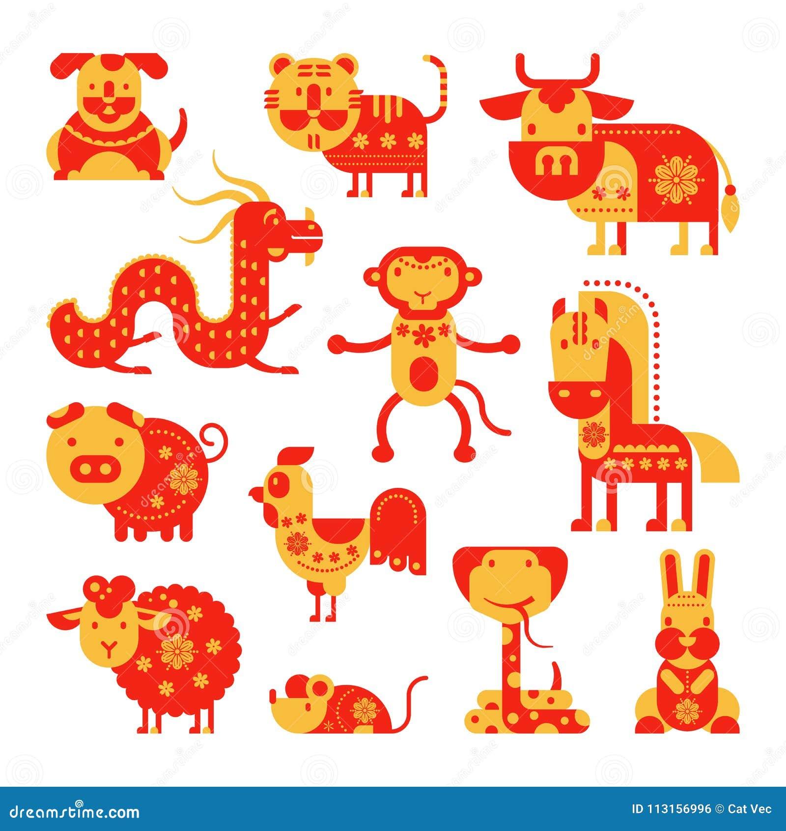 Κινεζικό διανυσματικό horoscopy ζωικό σύμβολο ωροσκοπίων του αστρολογικού ημερολογίου στο σύνολο απεικόνισης της Κίνας ζωώδους Ασ
