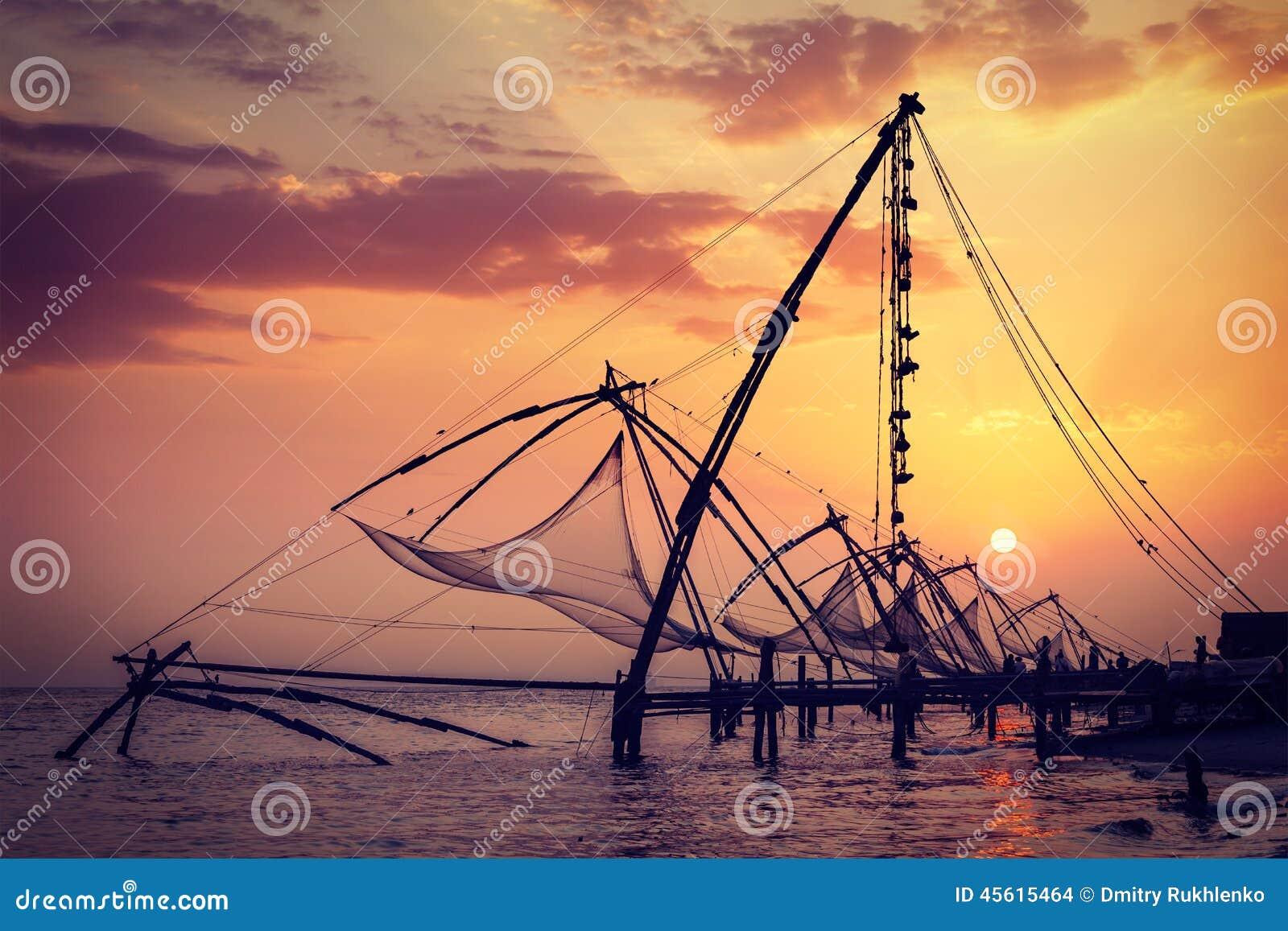 κινεζικό ηλιοβασίλεμα koch Kochi, Κεράλα, Ινδία