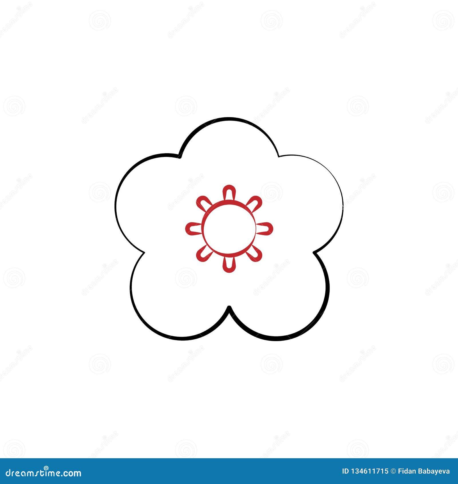 Κινεζικό νέο έτος, λουλούδι, εικονίδιο ανθών δαμάσκηνων Μπορέστε να χρησιμοποιηθείτε για τον Ιστό, λογότυπο, κινητό app, UI, UX
