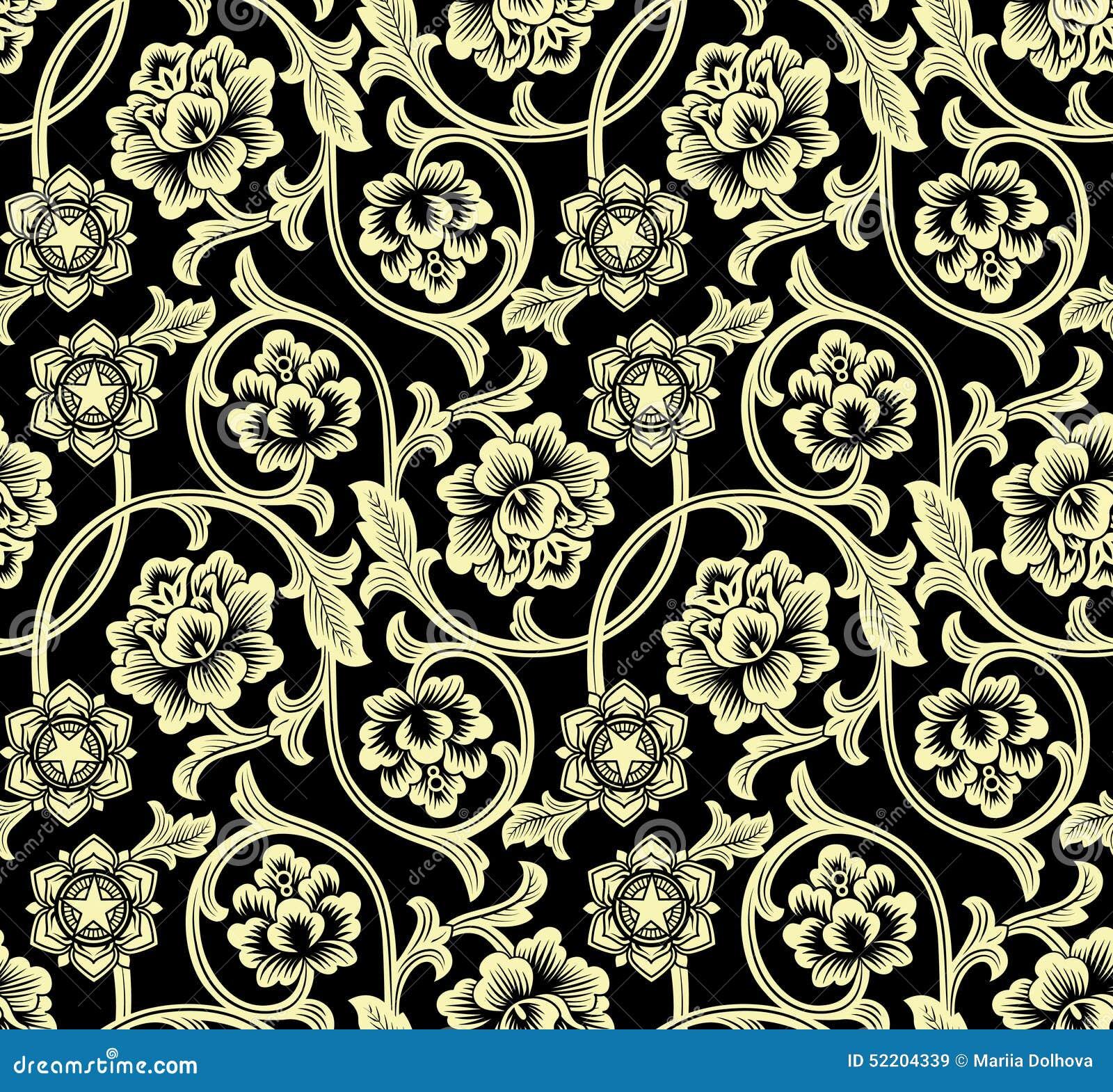Κινεζικό υπόβαθρο με τα λουλούδια πρότυπο άνευ ραφής