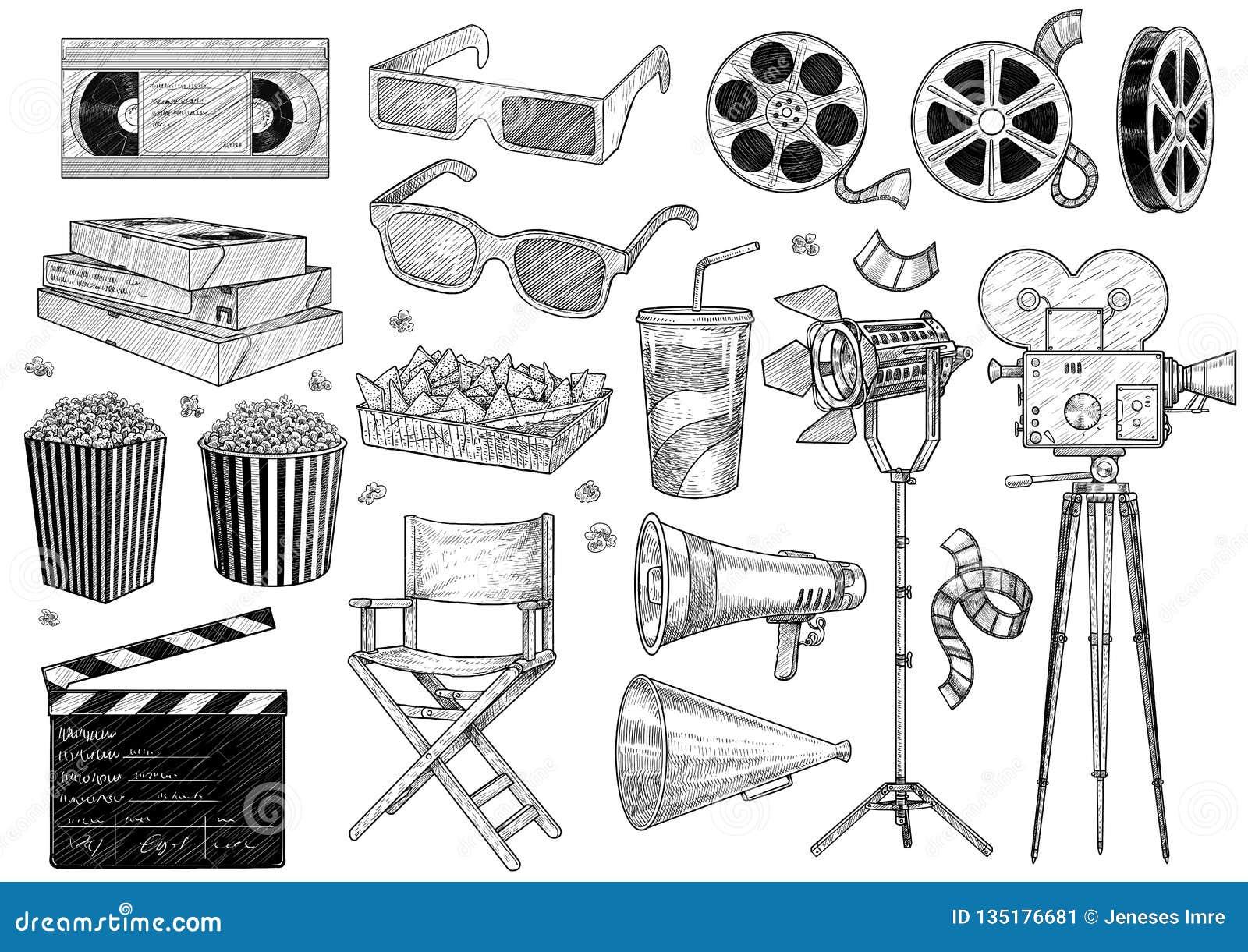 Κινηματογράφος, κινηματογράφος, απεικόνιση συλλογής, σχέδιο, χάραξη, μελάνι, τέχνη γραμμών, διάνυσμα