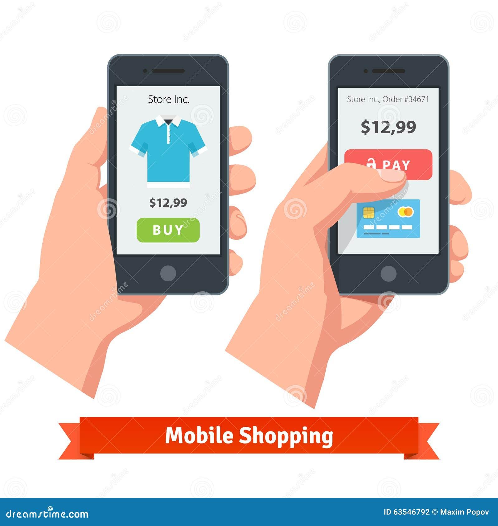Κινητές σε απευθείας σύνδεση αγορές ηλεκτρονικού εμπορίου smartphone