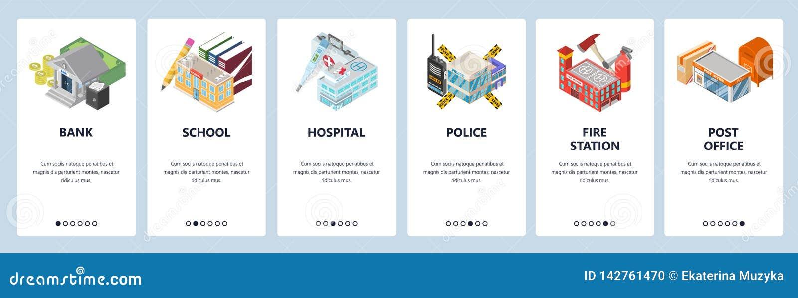 Κινητές app onboarding οθόνες Κτήρια πόλεων, τράπεζα, αστυνομία, νοσοκομείο, σχολείο, πυροσβεστικός σταθμός Διανυσματικό πρότυπο