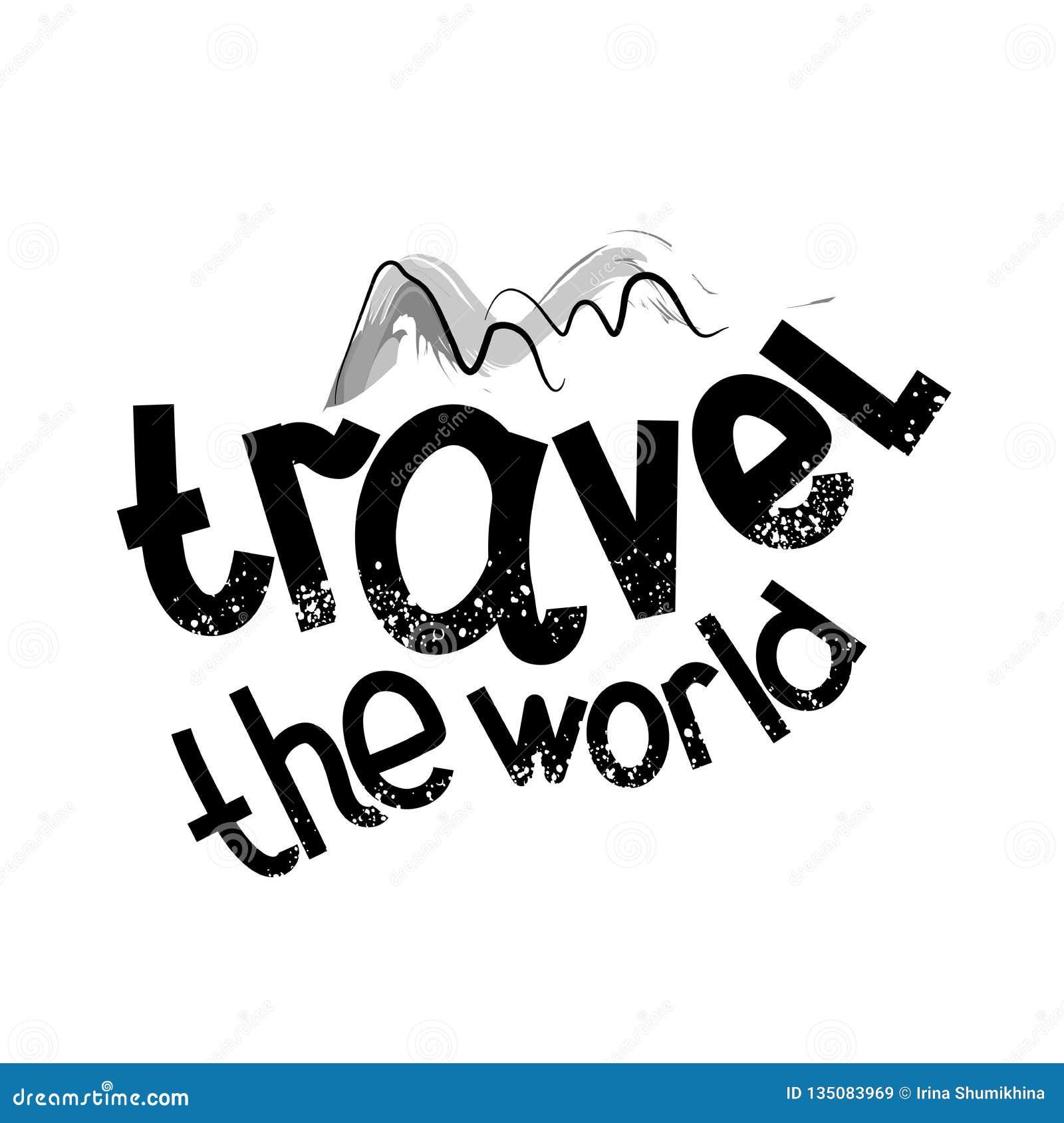 Κινητήριες αφίσα ταξιδιού και πηγή κινούμενων σχεδίων Ταξιδεψτε τον κόσμο επίσης corel σύρετε το διάνυσμα απεικόνισης