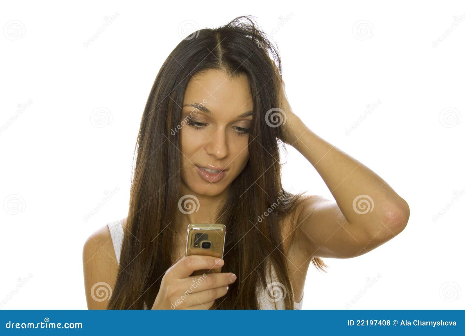 κινητή γυναίκα τηλεφωνική&