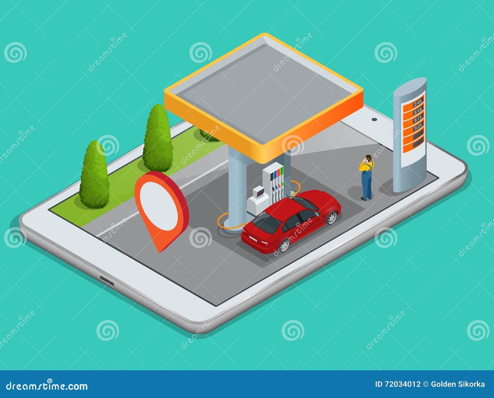Κινητή ναυσιπλοΐα ΠΣΤ, έννοια βενζινάδικων Δείτε έναν χάρτη στο κινητό τηλέφωνο στις συντεταγμένες ΠΣΤ αυτοκινήτων και αναζήτησης