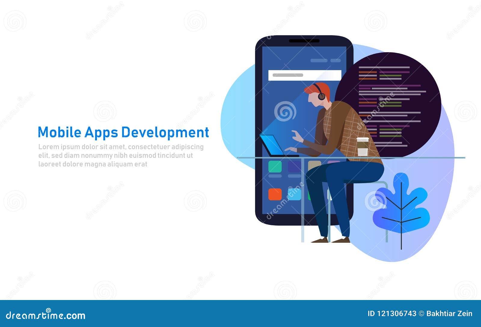 Κινητή App ανάπτυξη, κώδικας προγραμματιστών στο lap-top Έξυπνη τηλεφωνική εφαρμογή επίσης corel σύρετε το διάνυσμα απεικόνισης