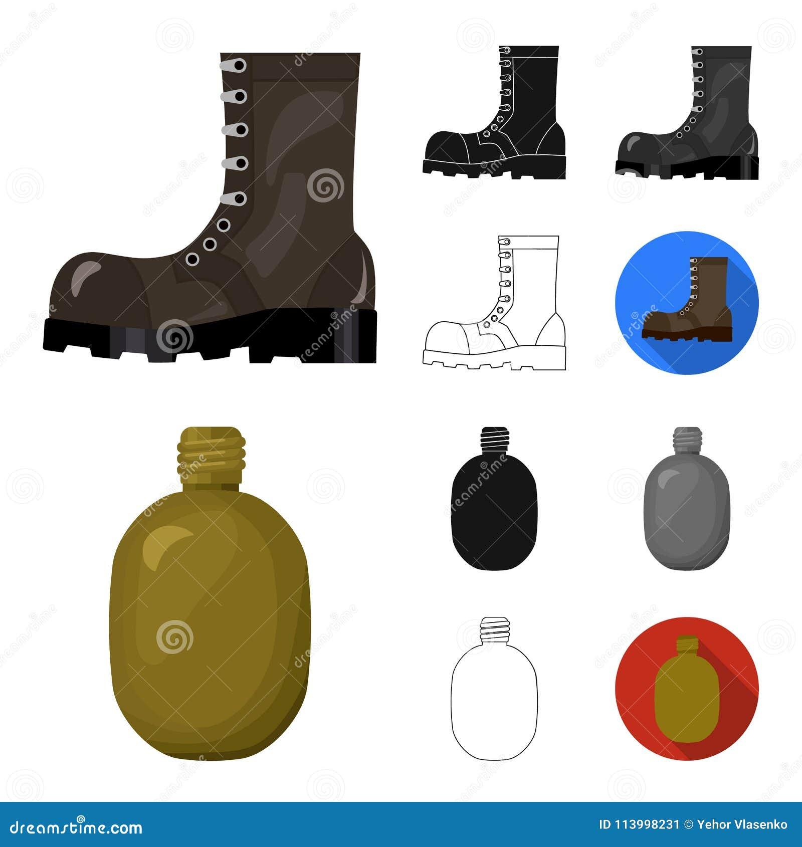 Κινούμενα σχέδια στρατού και εξοπλισμών, ο Μαύρος, επίπεδος, μονοχρωματικός, εικονίδια περιλήψεων στην καθορισμένη συλλογή για το