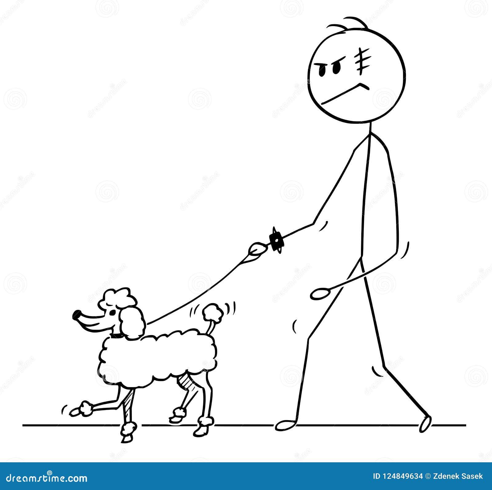 Κινούμενα σχέδια του σκληρού ατόμου που περπατά με Poodle το σκυλί σε ένα λουρί