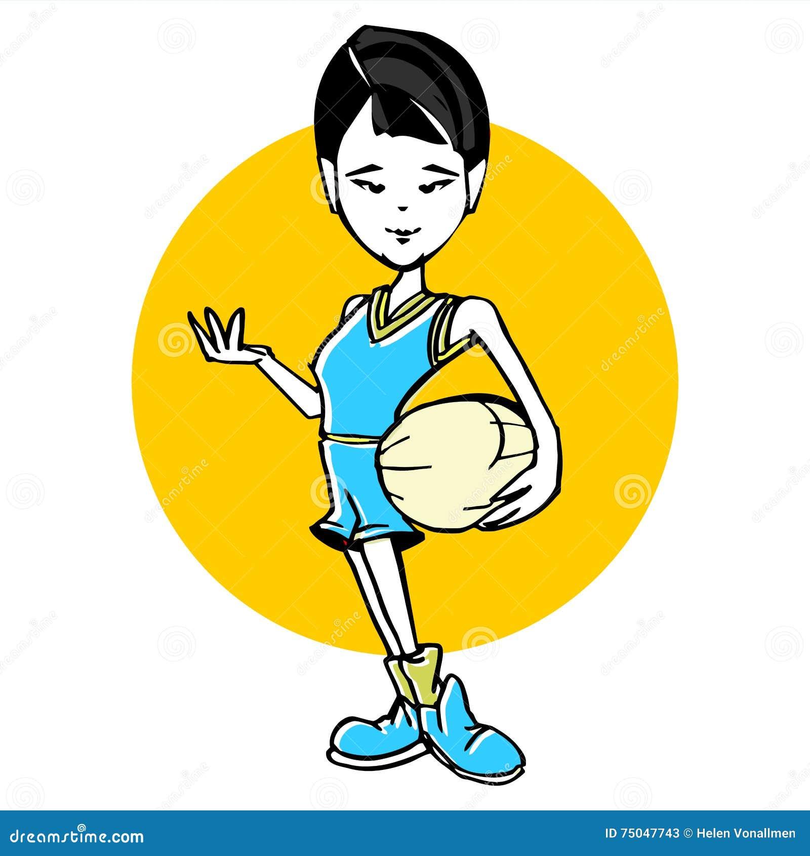 2e518f9087 Καρικατούρα του ασιατικού ύφους κινούμενων σχεδίων γυναικών καλαθοσφαίρισης
