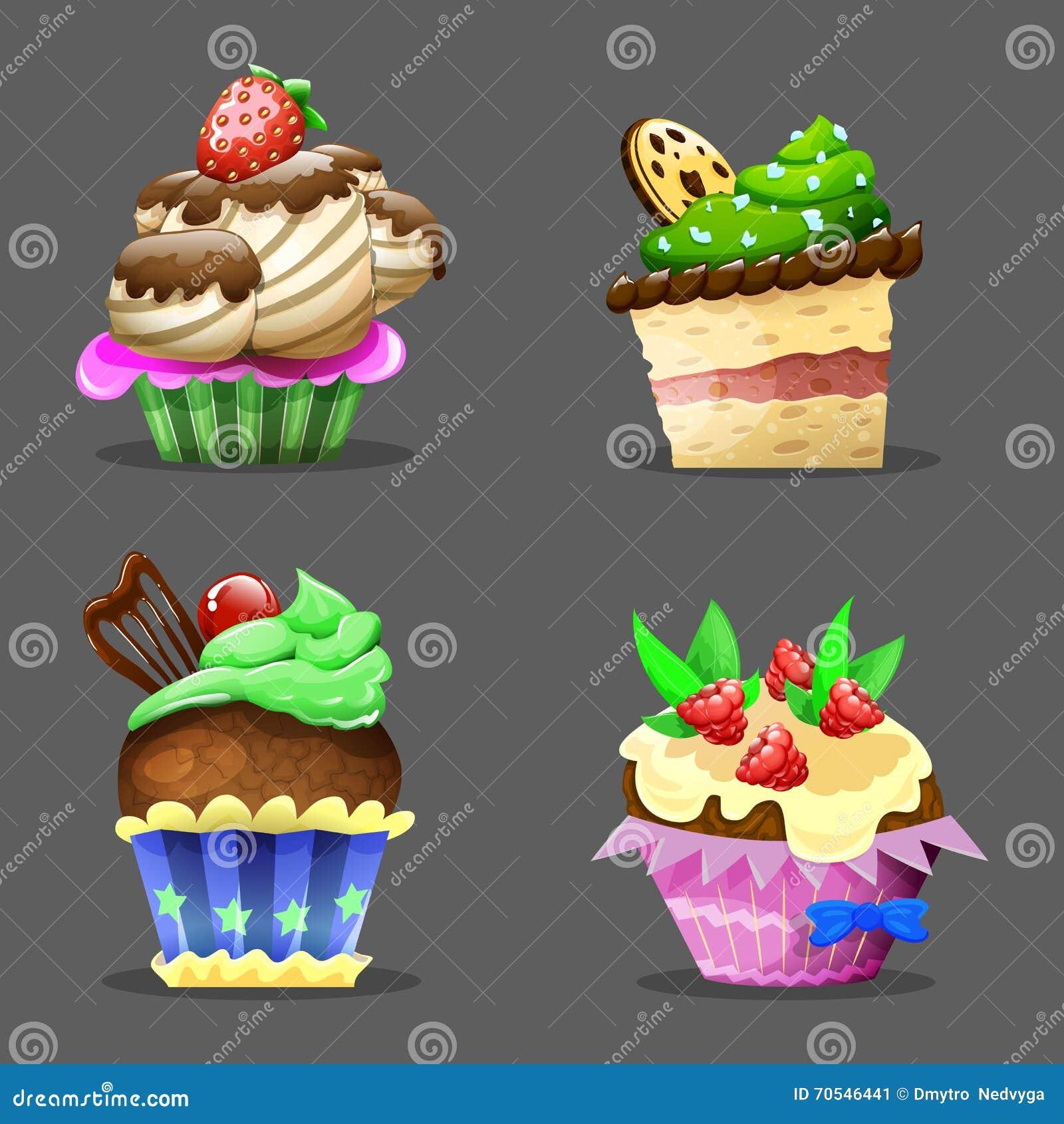 κινούμενα σχέδια cupcake επίσης corel σύρετε το διάνυσμα απεικόνισης