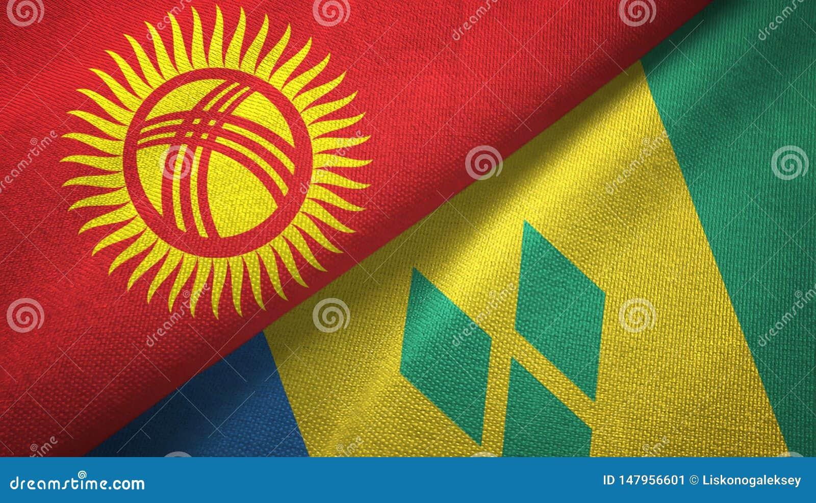 Κιργιστάν και Άγιος Βικέντιος και Γρεναδίνες δύο υφαντικό ύφασμα σημαιών