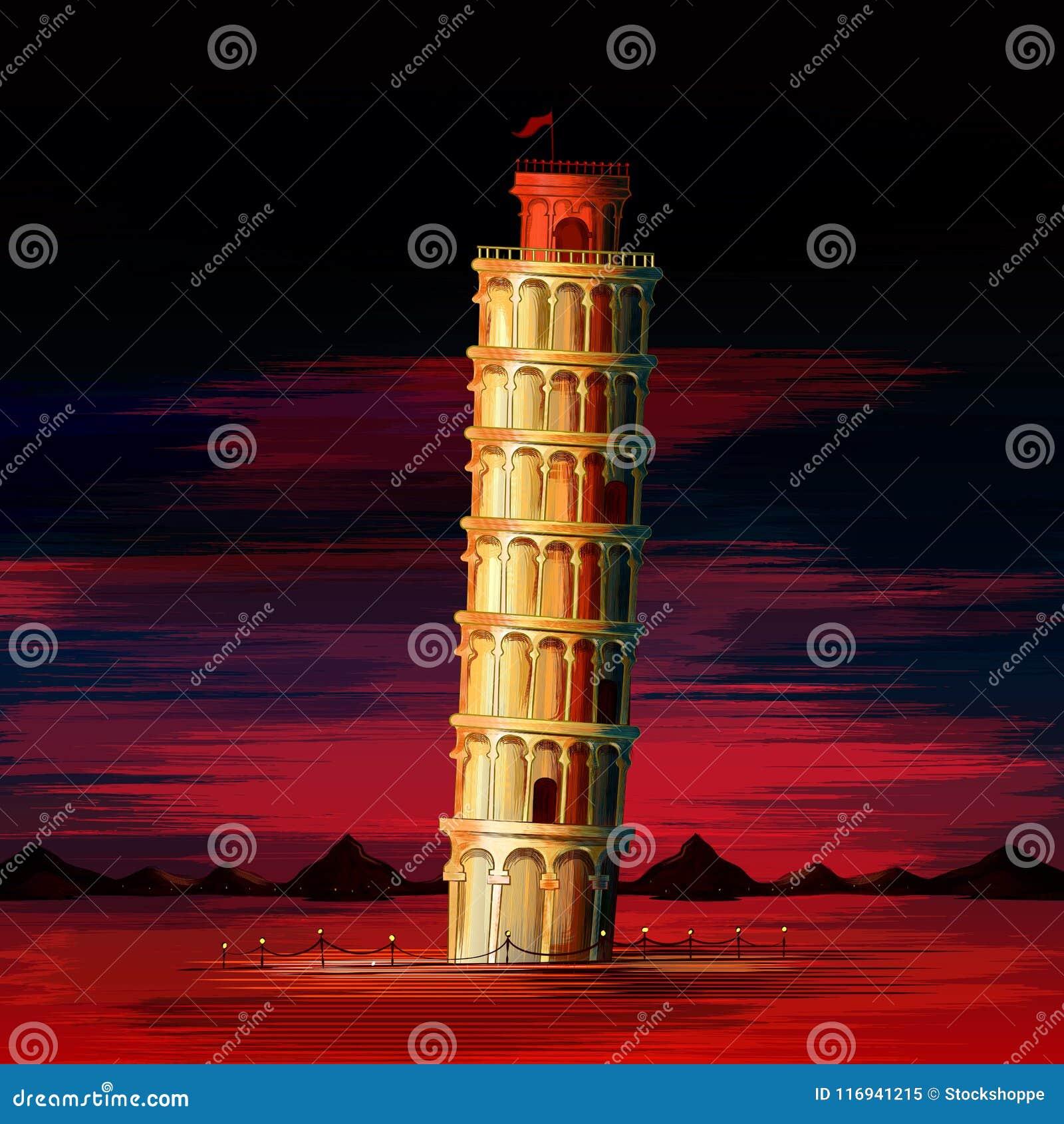Κλίνοντας πύργος του παγκοσμίως διάσημου ιστορικού μνημείου της Πίζας της Ιταλίας