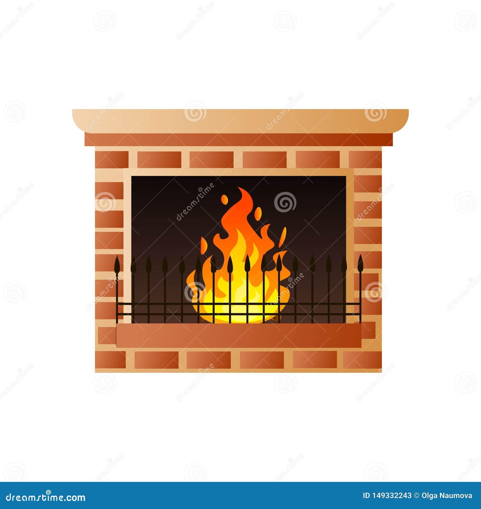 Κλασική εστία τούβλου σπιτιών με το κάψιμο της πύλης πυρκαγιάς και μετάλλων