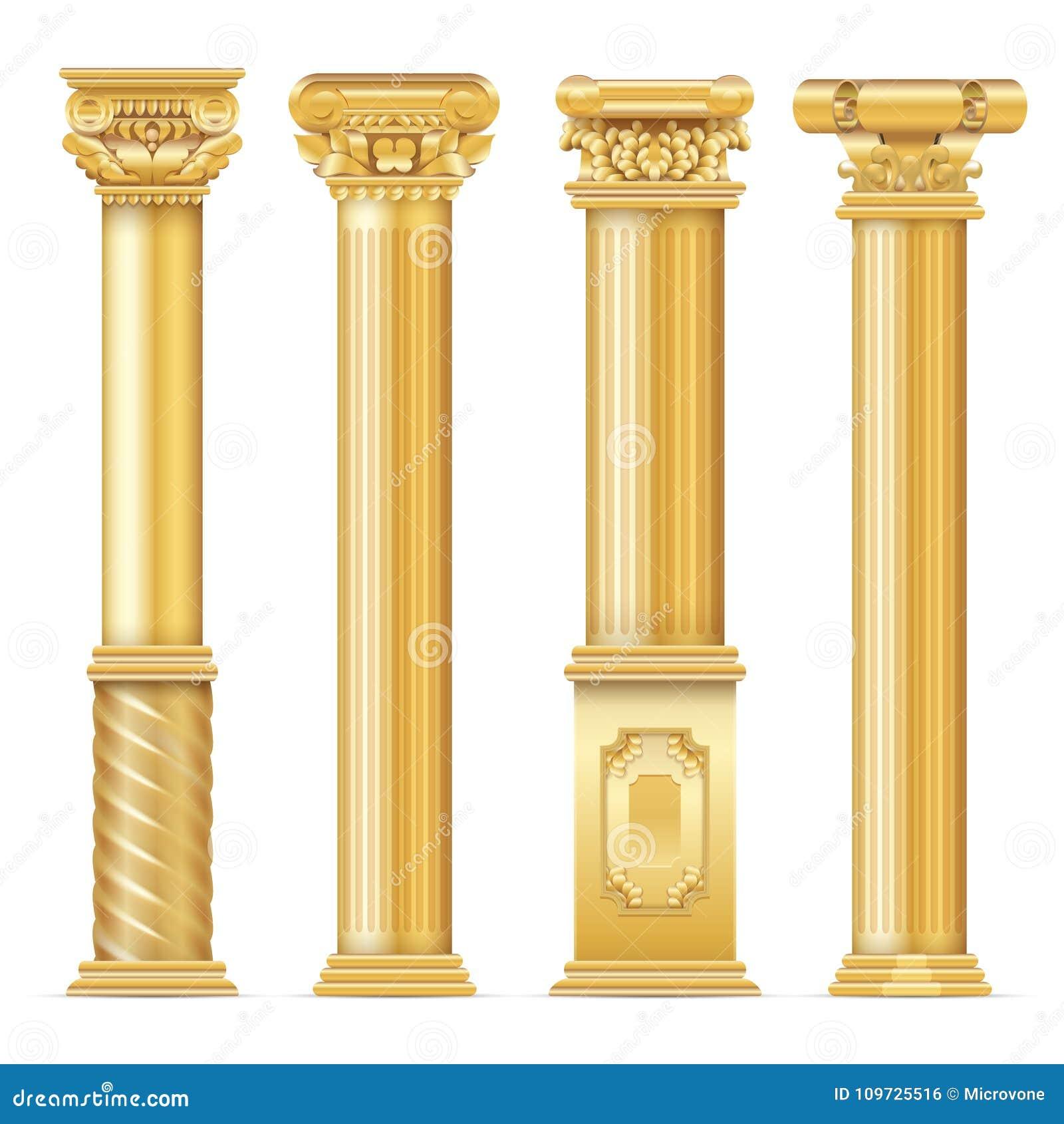 Κλασικό παλαιό χρυσό διανυσματικό σύνολο στηλών