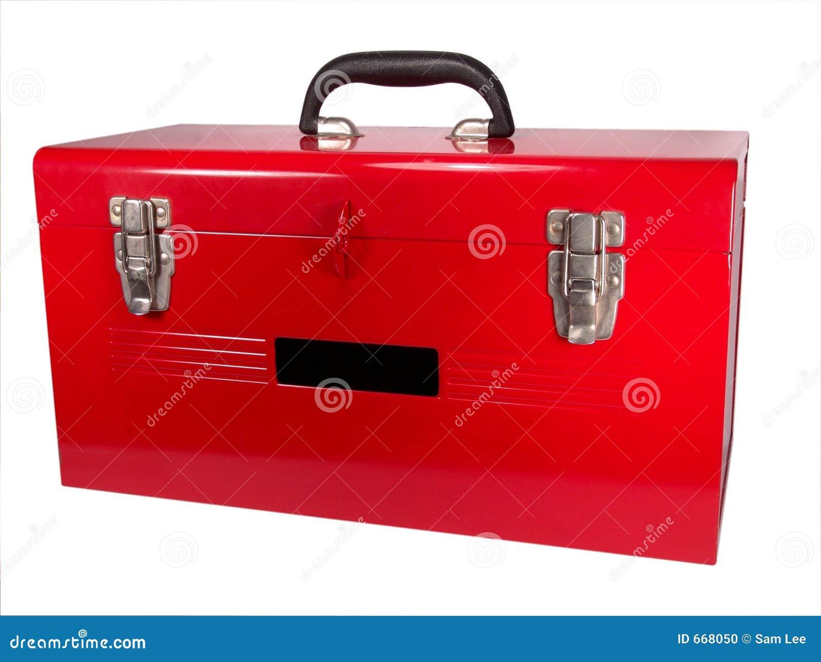 κλείστε την απομονωμένη κόκκινη εργαλειοθήκη επάνω
