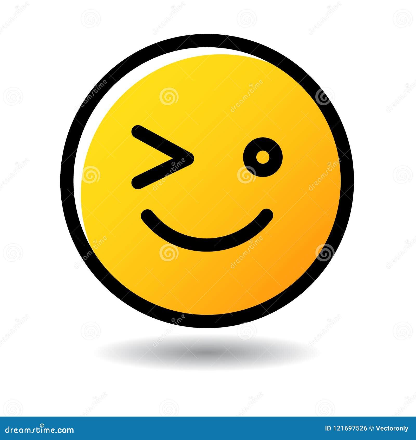 Κλείστε το μάτι emoticon εικονίδιο emoji
