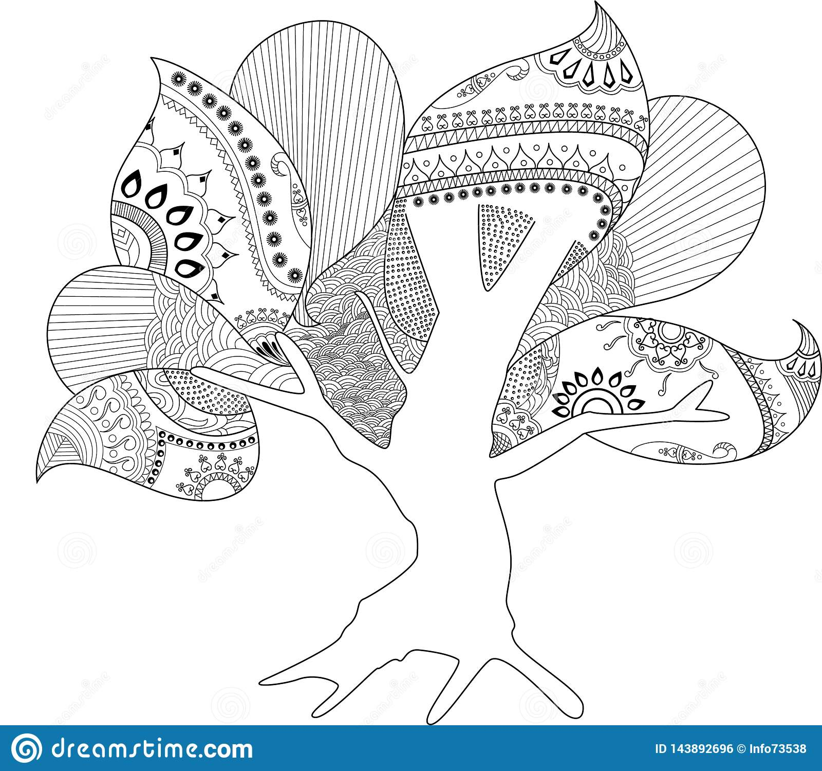 Κοίλο έργο τέχνης σελίδων δέντρων χρωματίζοντας