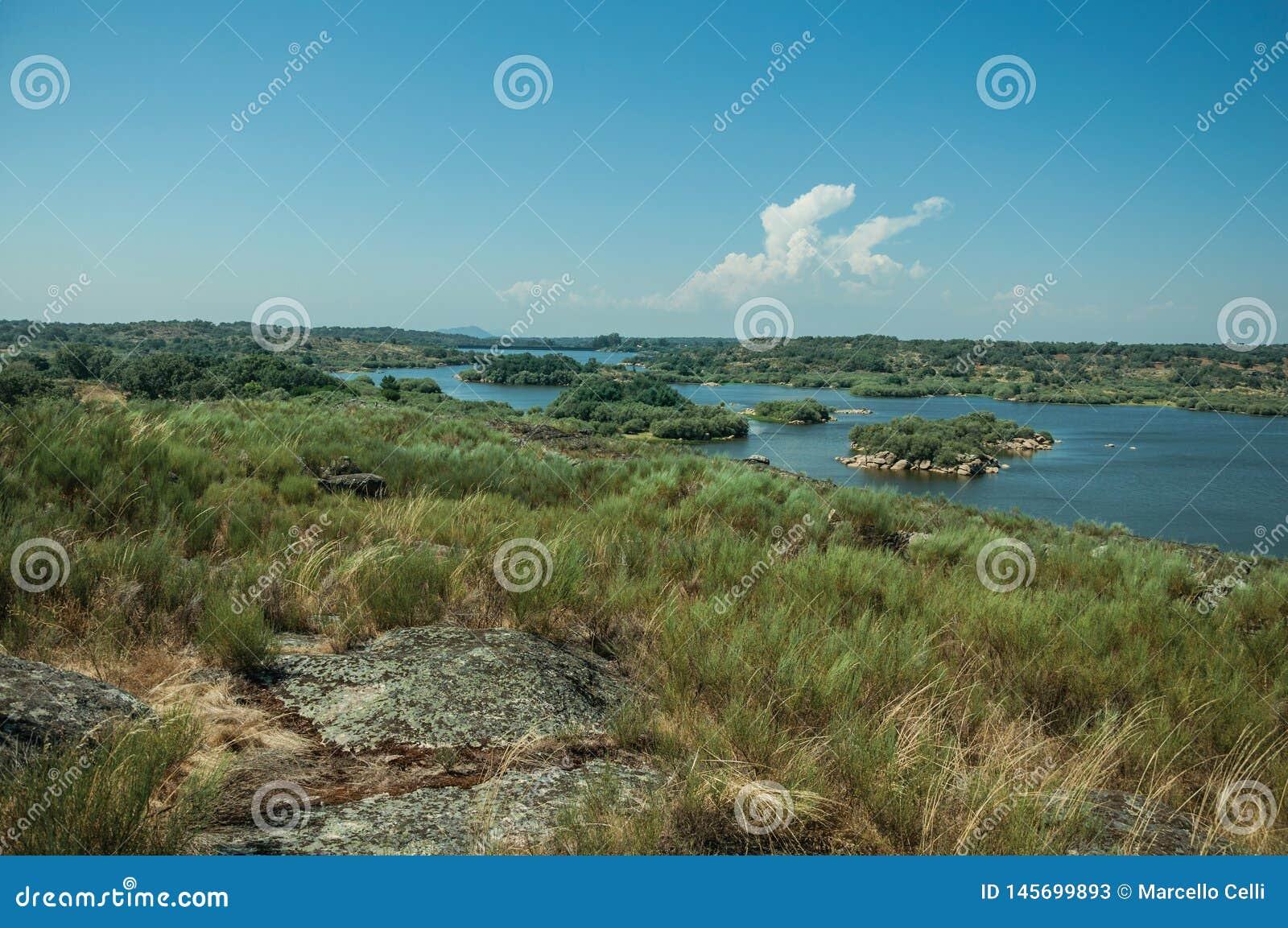 Κοιλάδα με τον ποταμό και λόφοι που καλύπτονται από τους βράχους και το χαμόκλαδο
