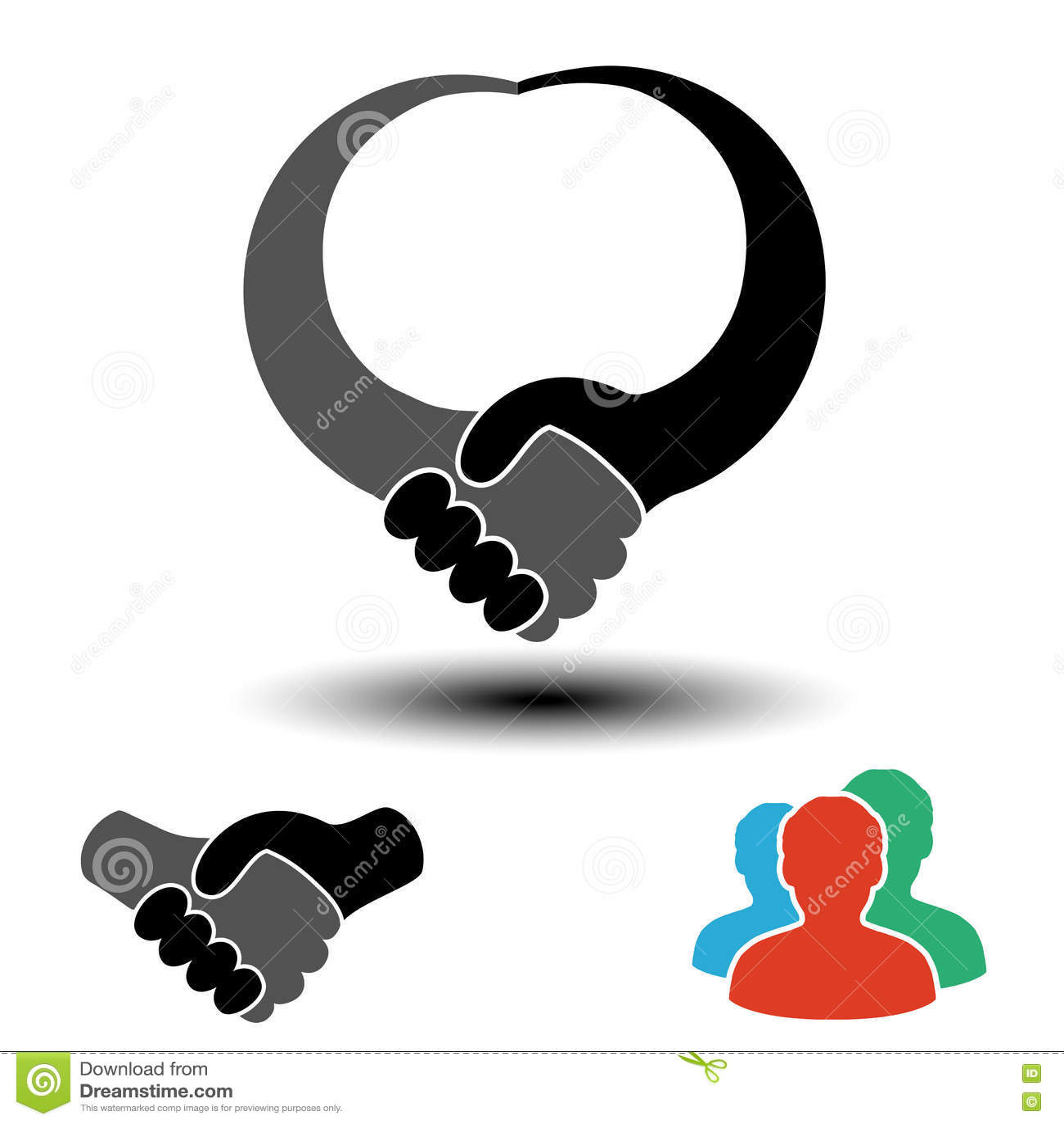 Κοινοτικό σύμβολο με το σύμβολο χειραψιών Απλές σκιαγραφίες των ατόμων με τη χειρονομία χειραψιών Κυκλικές ετικέτες σχεδιαγράμματ