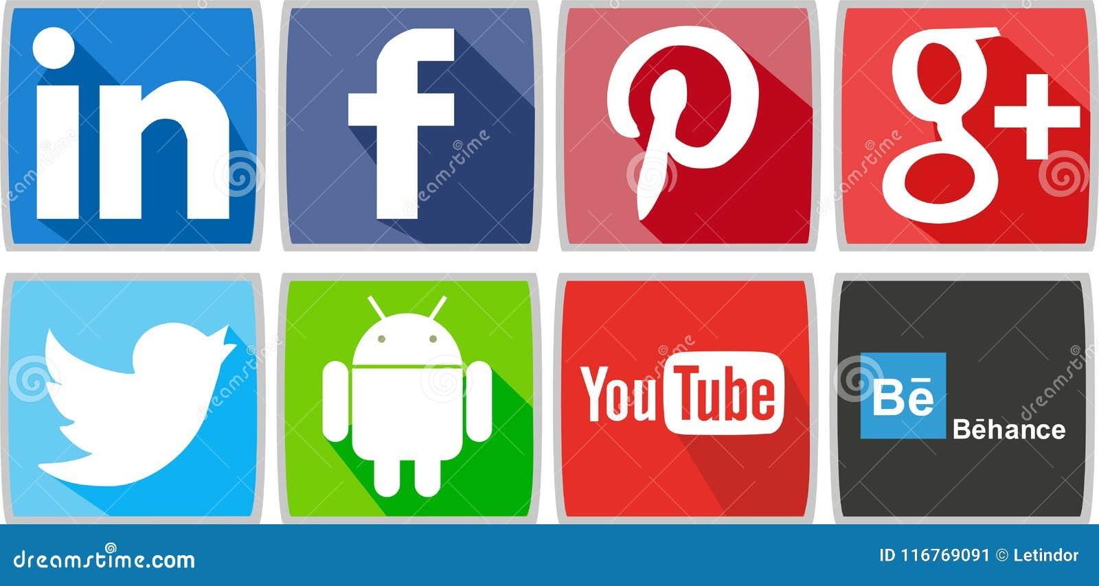 Κοινωνικά δίκτυα ή κοινωνικά εικονίδια μέσων για τον υπολογιστή ή για το τηλέφωνο