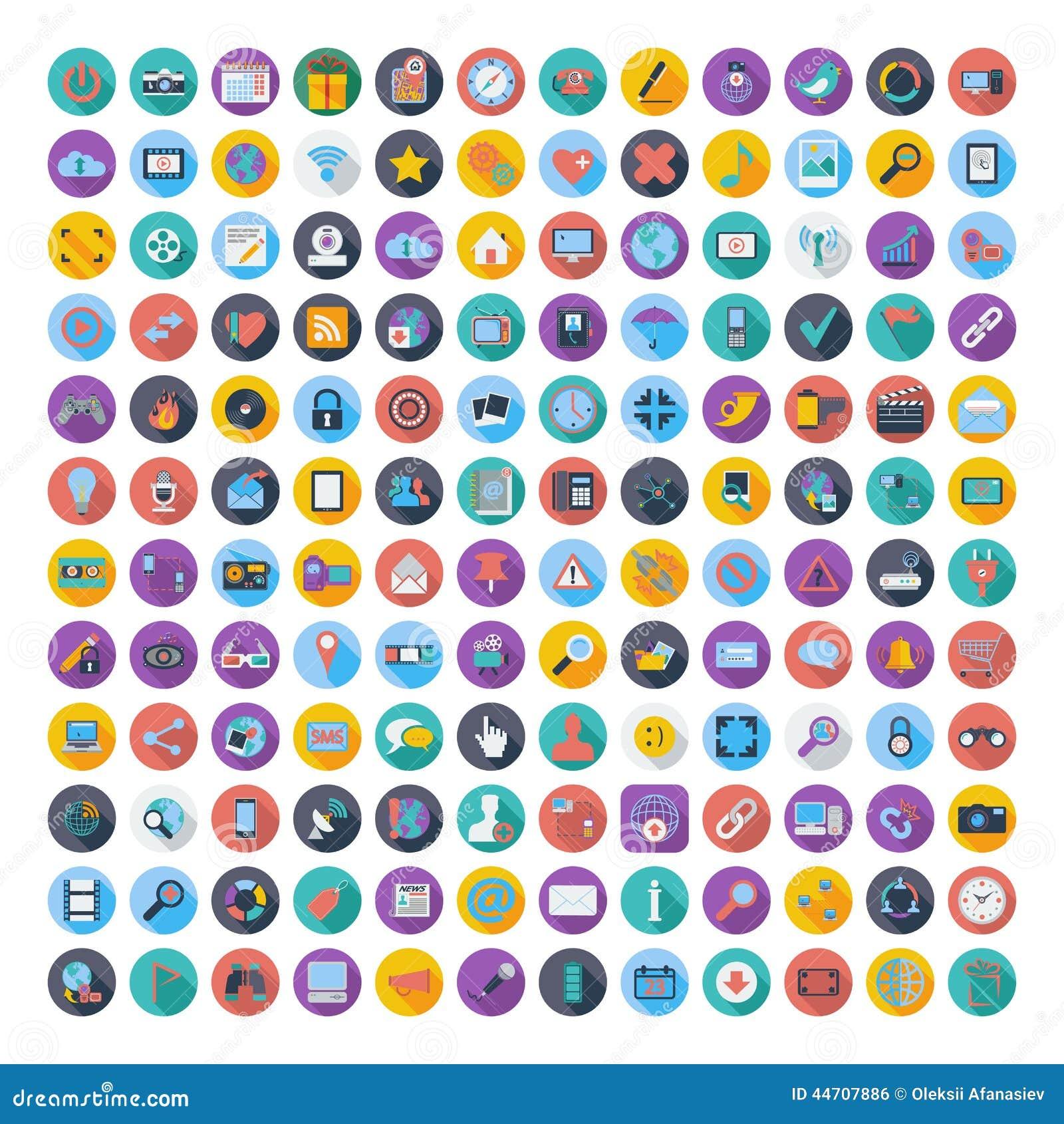 Κοινωνικά μέσα και επίπεδα εικονίδια χρώματος δικτύων