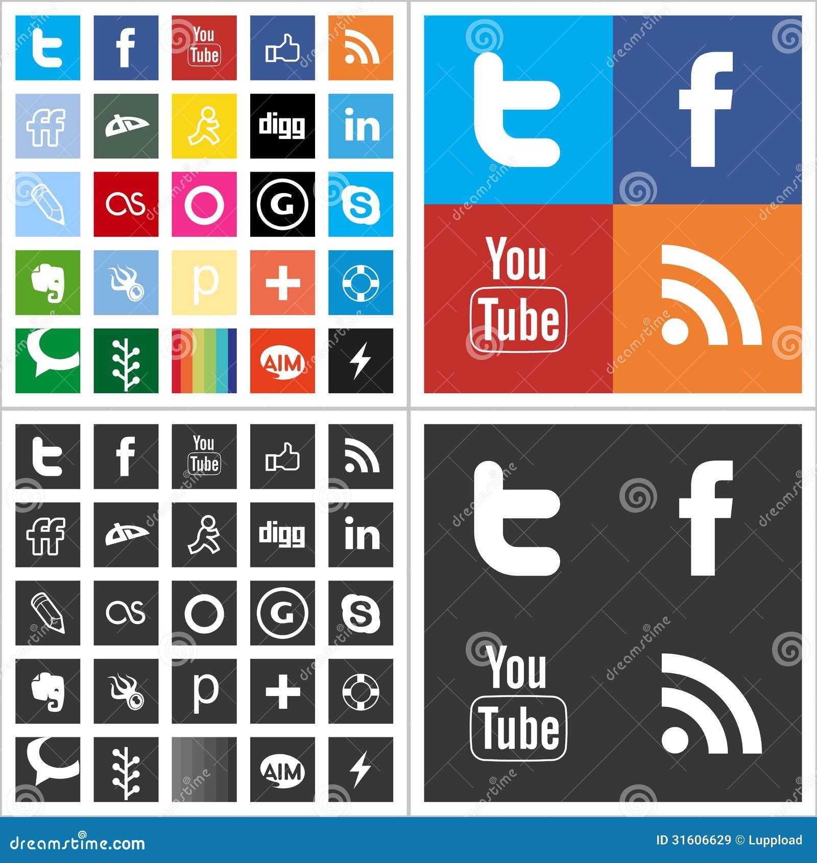 Κοινωνικά πολυ χρωματισμένα εικονίδια δικτύων οριζόντια