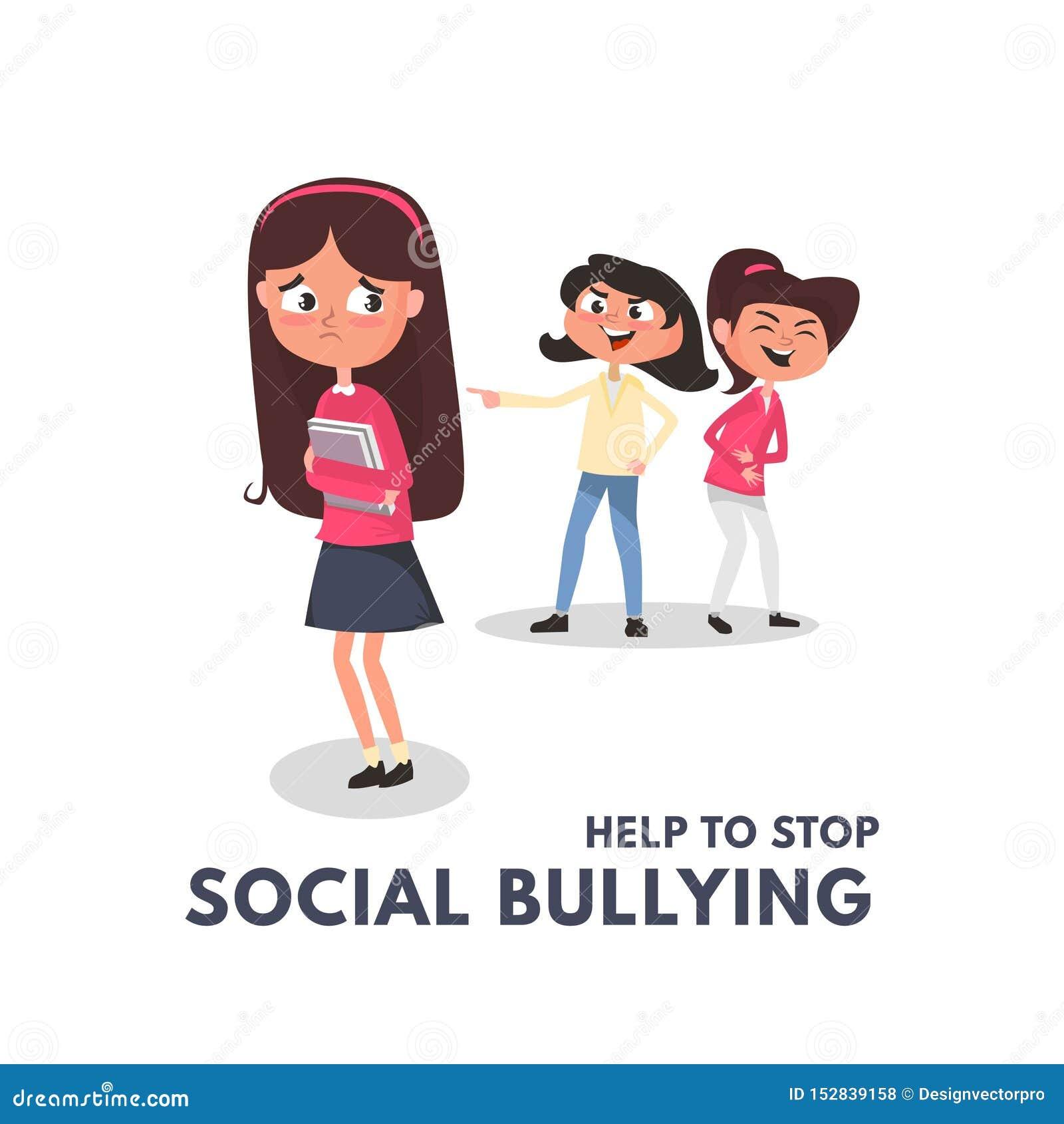 Κοινωνικές έννοιες φοβέρας στάσεων με τα κακά κορίτσια που φοβερίζουν ένα άλλο κορίτσι Παιδιά που φοβερίζουν στη σχολική έννοια Κ