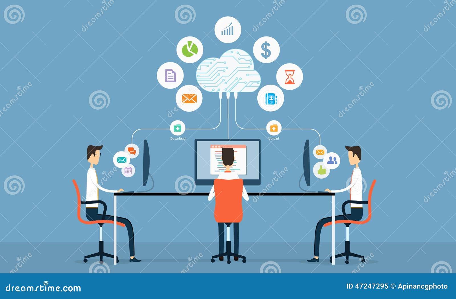 κοινωνική επιχειρησιακή σύνδεση ανθρώπων στο σύννεφο