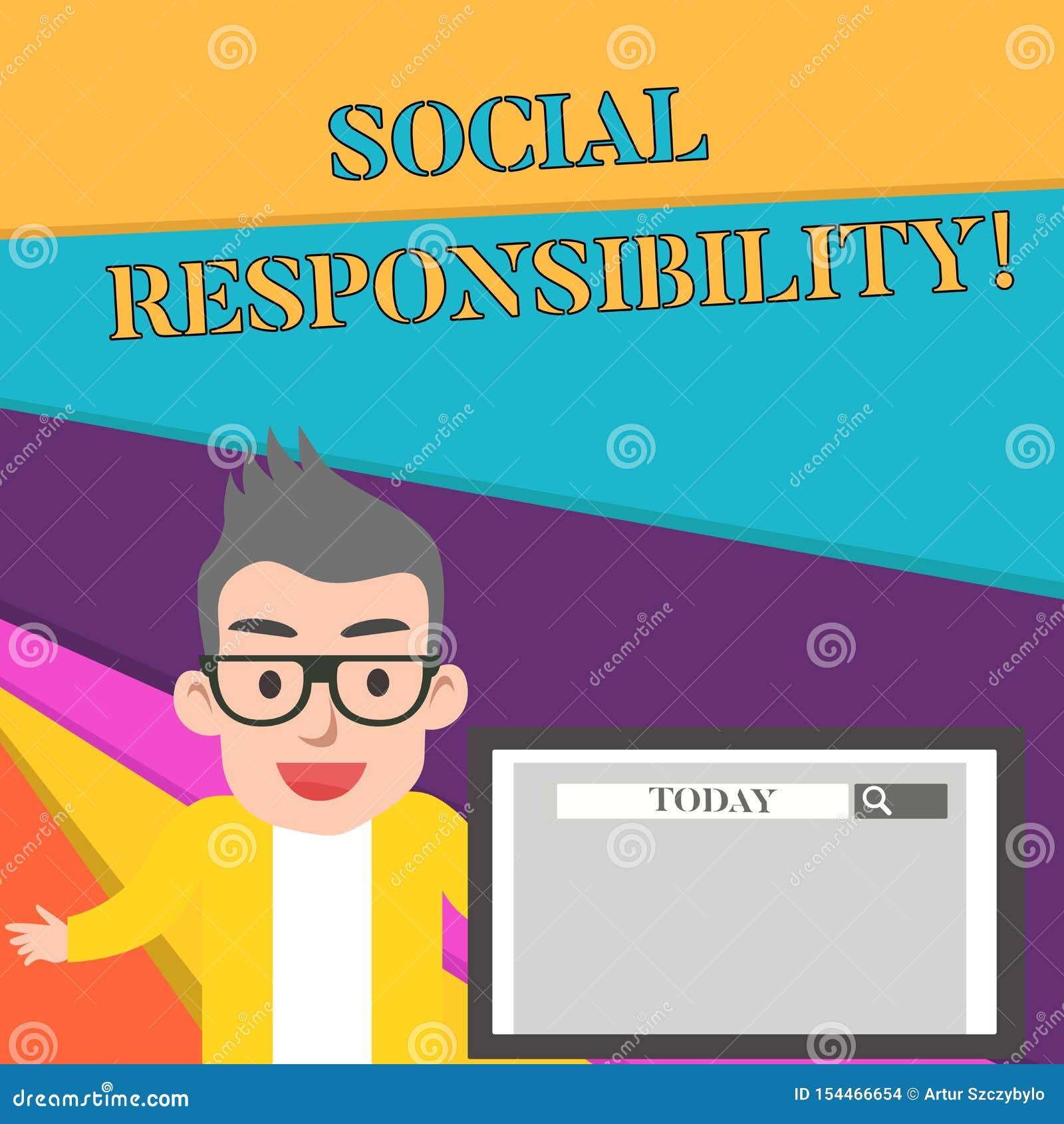 Κοινωνική ευθύνη κειμένων γραψίματος λέξης Επιχειρησιακή έννοια για την υποχρέωση προς όφελος της ισορροπίας κοινωνίας στο αρσενι