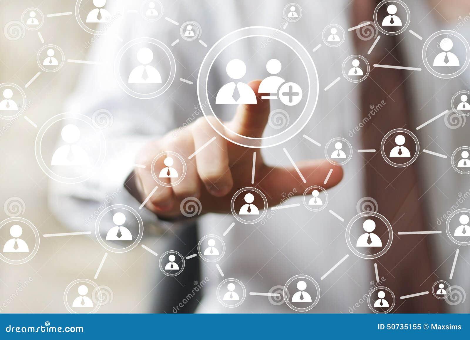 Κοινωνικός Ιστός κουμπιών αφής επιχειρηματιών διεπαφών δικτύων