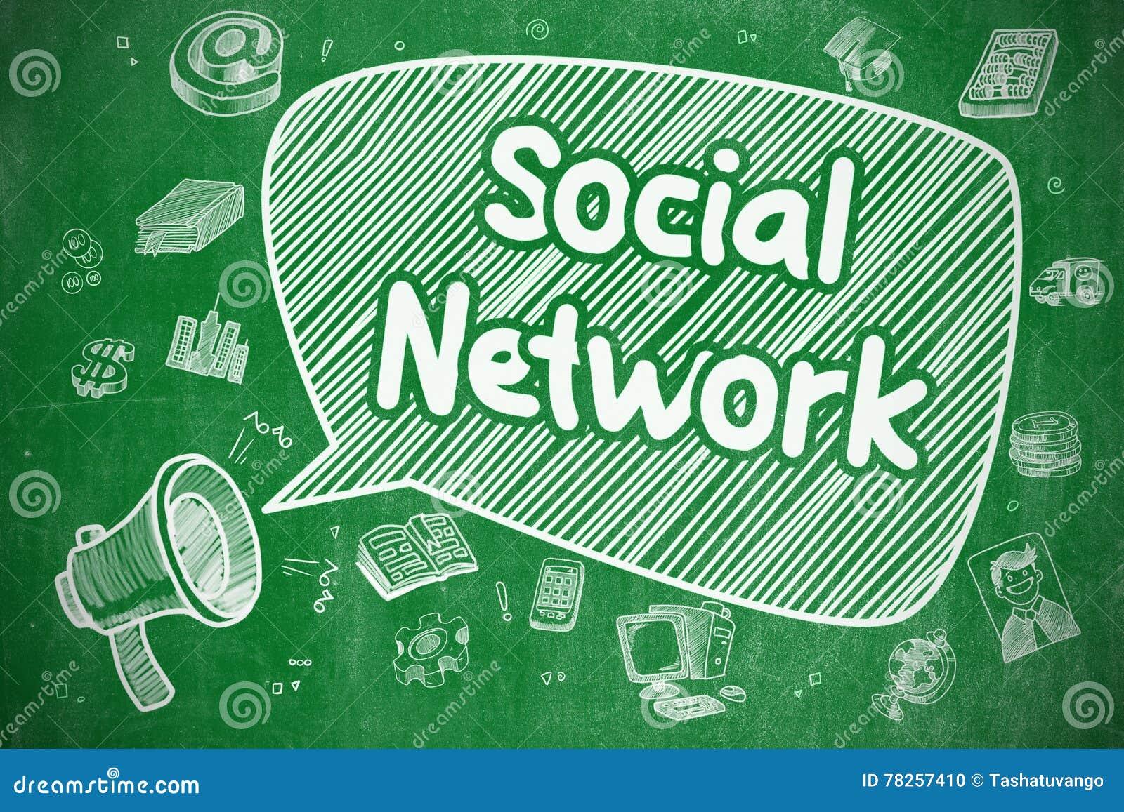 Κοινωνικό δίκτυο - απεικόνιση Doodle στον πράσινο πίνακα κιμωλίας